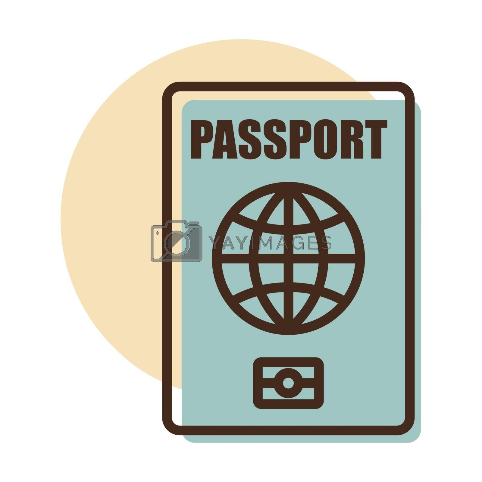 Passport vector icon, identification symbol. Graph symbol for travel and tourism web site and apps design, logo, app, UI
