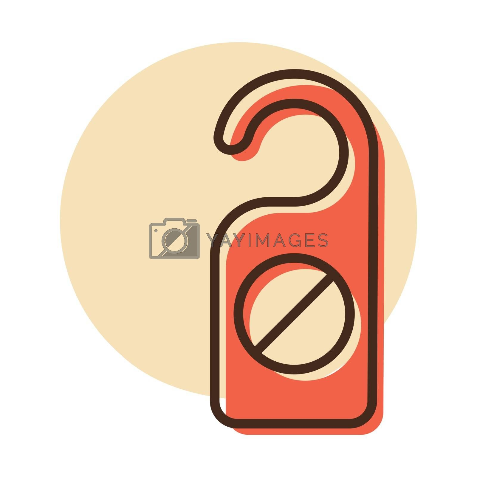 Do not disturb sign vector icon. Red hotel door warning messages. Graph symbol for travel and tourism web site and apps design, logo, app, UI