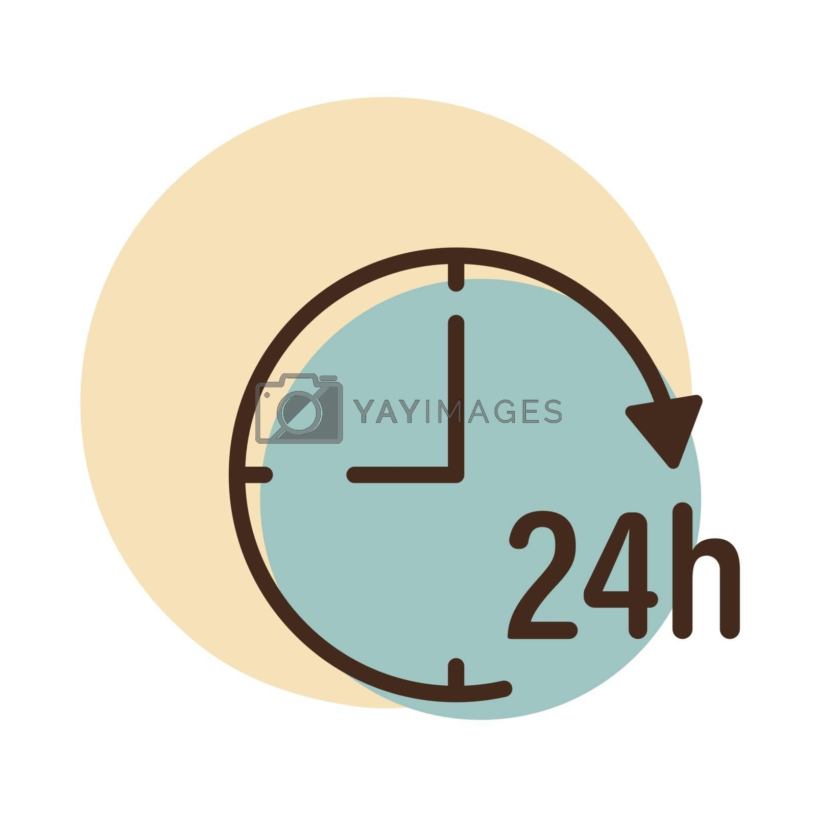 Service twenty four hours vector icon. Graph symbol for travel and tourism web site and apps design, logo, app, UI