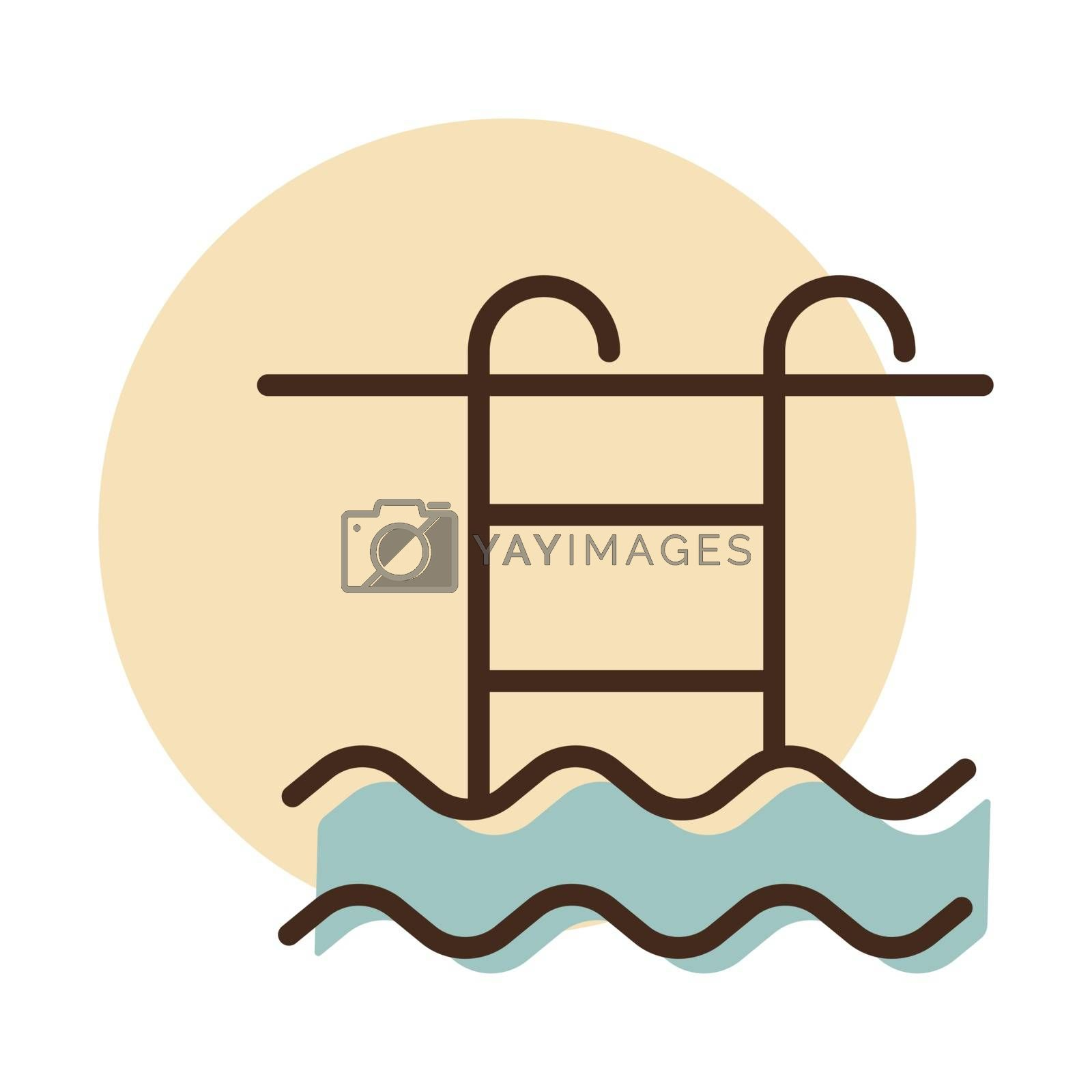 Swimming pool flat vector icon. Graph symbol for travel and tourism web site and apps design, logo, app, UI
