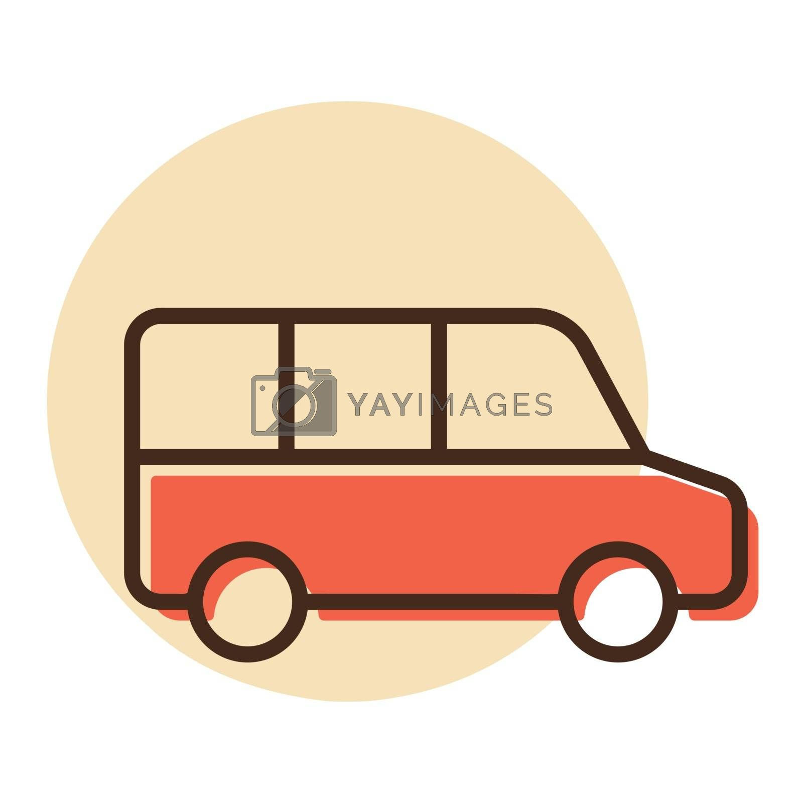 Airport shuttle minivan, shuttle bus vector icon. Graph symbol for travel and tourism web site and apps design, logo, app, UI