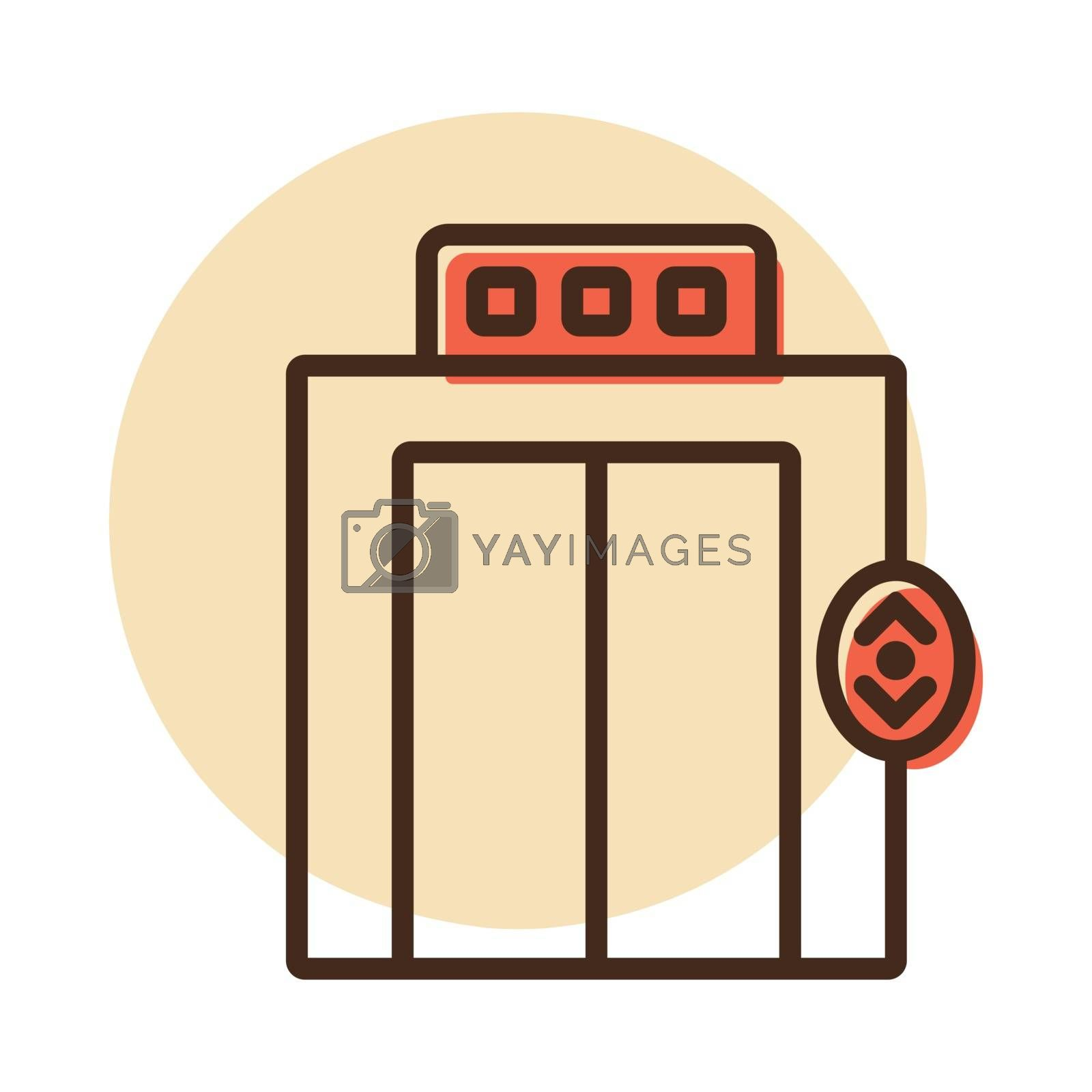 Elevator, lift flat vector icon. Graph symbol for travel and tourism web site and apps design, logo, app, UI