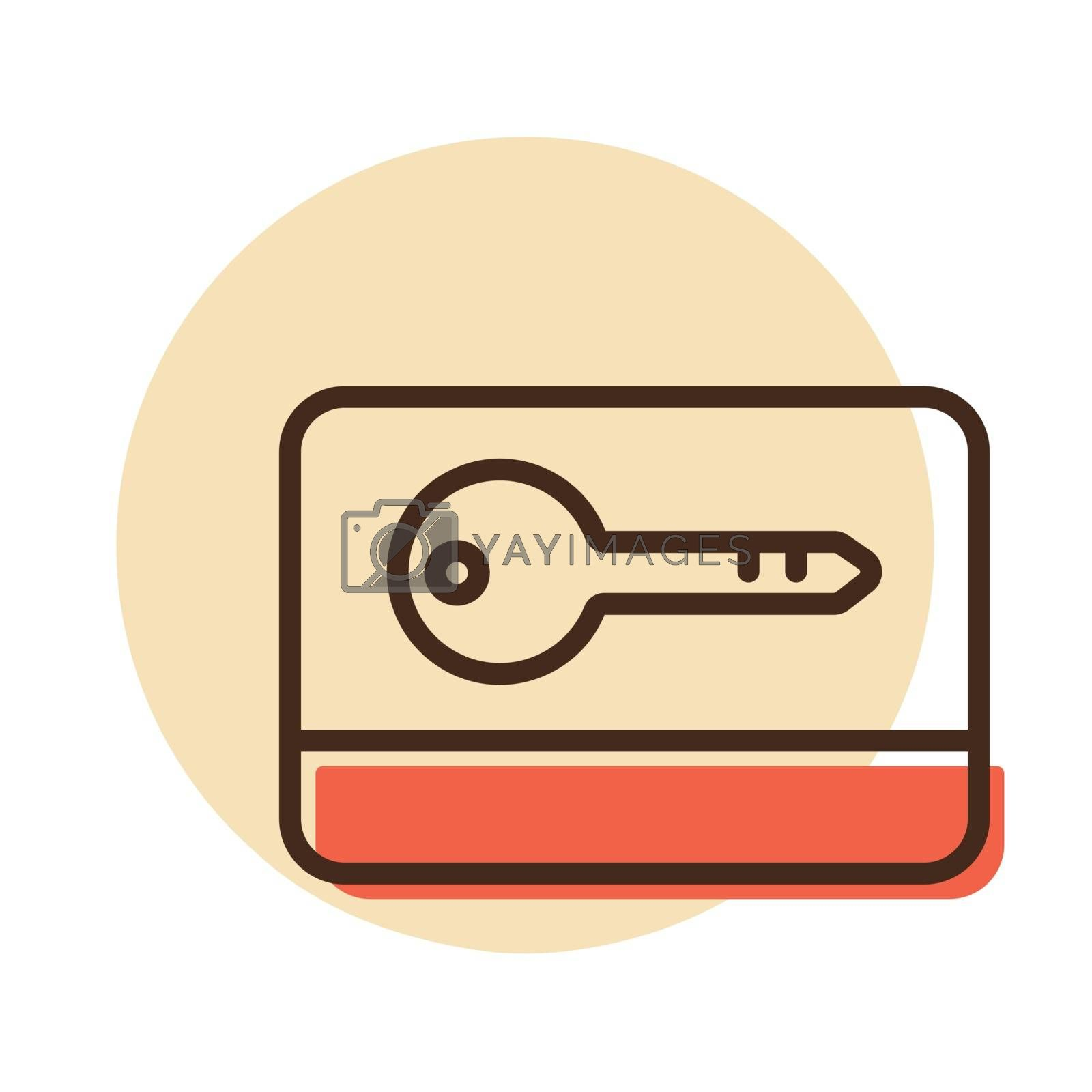 Card key flat vector icon. Graph symbol for travel and tourism web site and apps design, logo, app, UI