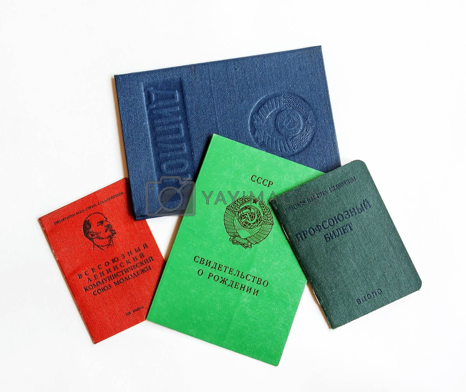 The documents of citizens of the Soviet Union confirming the identity, education and belonging to some community organizations