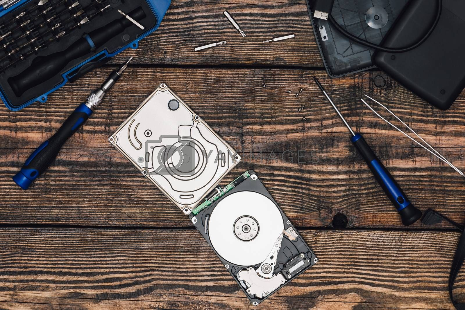 HDD with Screwdriver and Other Tools by Seva_blsv