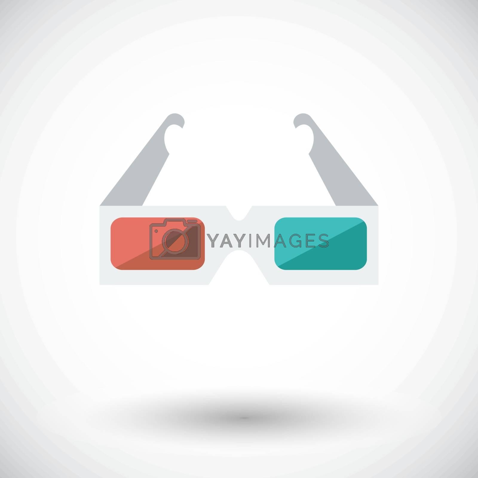 Glasses 3D single icon. by smoki