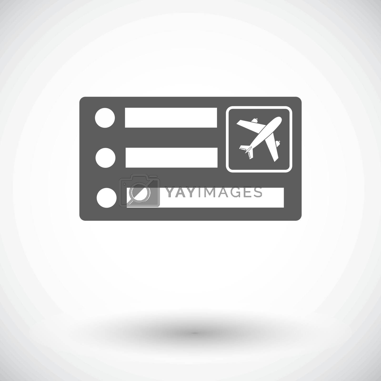 Air ticket. Single flat icon on white background. Vector illustration.