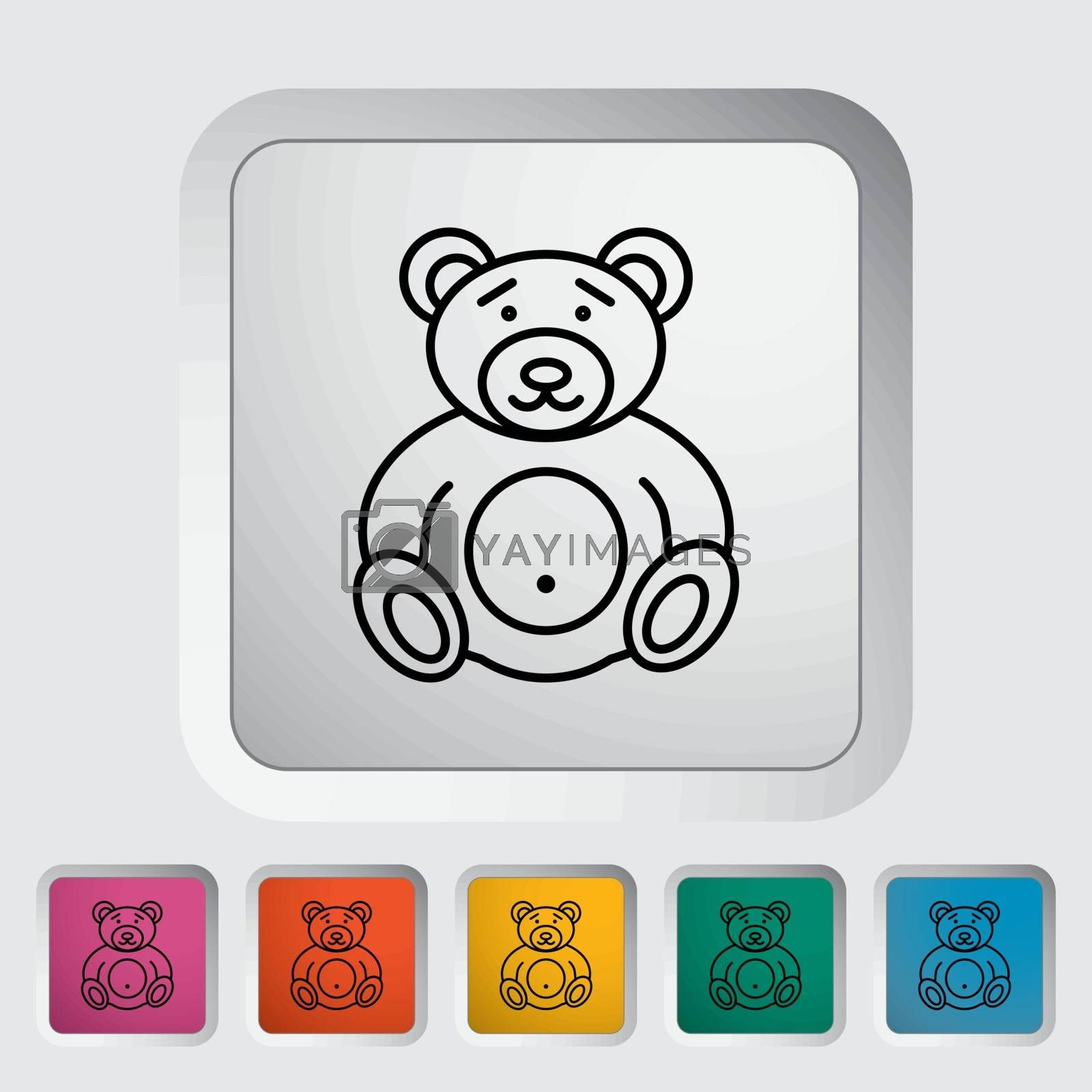 Bear toy thin line flat vector related icon set for web and mobile applications. It can be used as - pictogram, icon, infographic element. Vector Illustration.