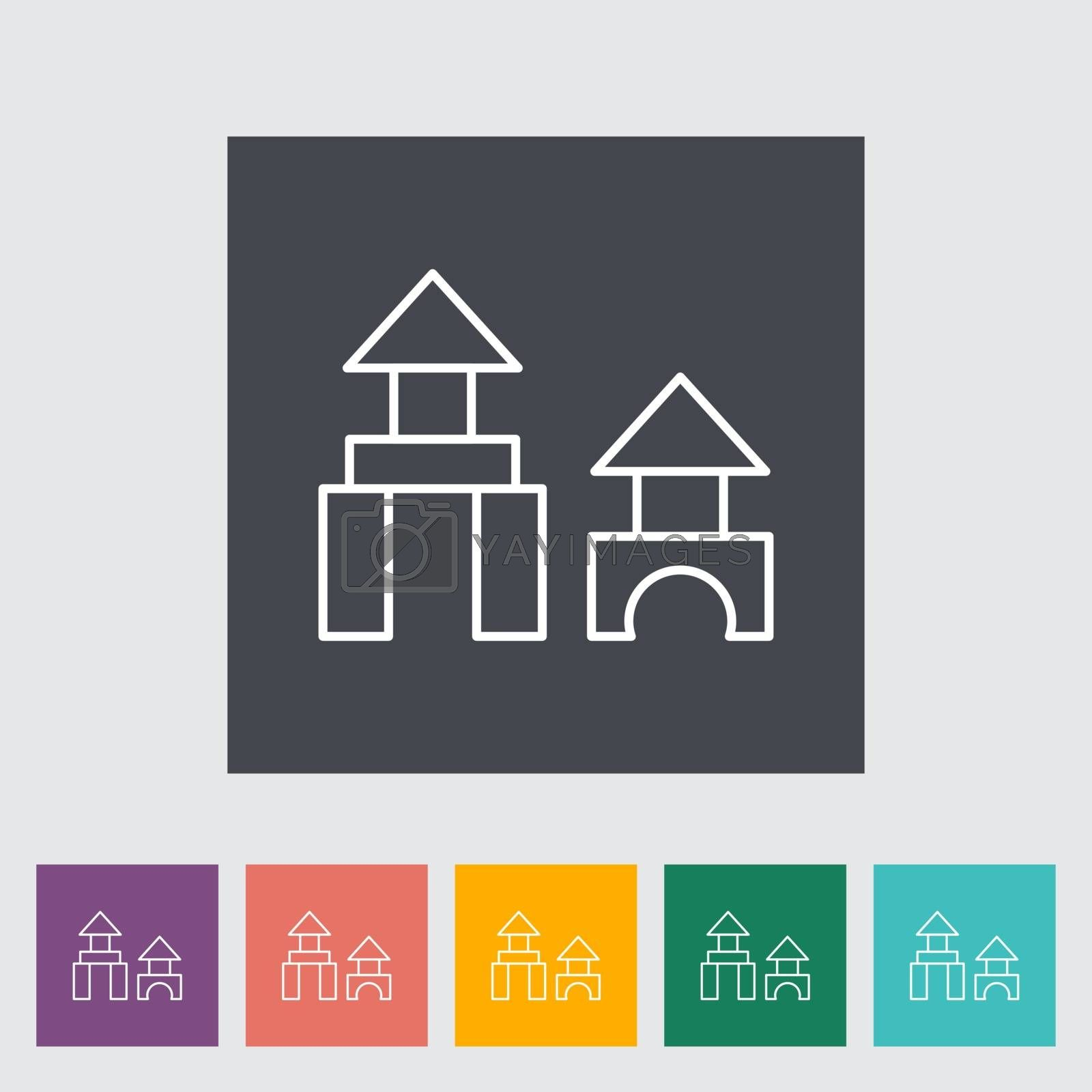 Building block thin line flat vector related icon set for web and mobile applications. It can be used as - pictogram, icon, infographic element. Vector Illustration.