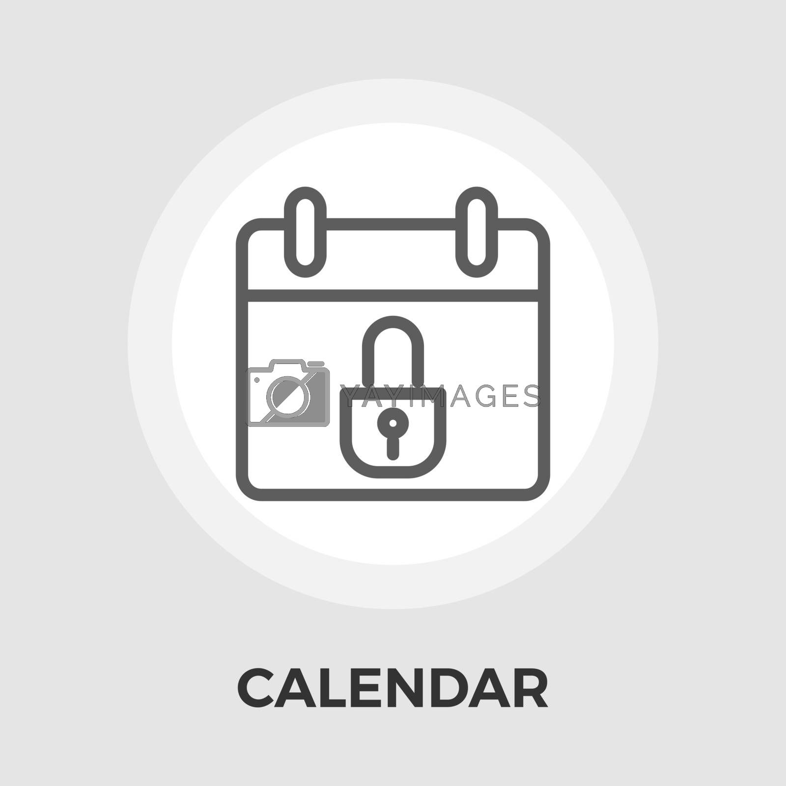 Calendar with padlock icon vector. Flat icon isolated on the white background. Editable EPS file. Vector illustration.