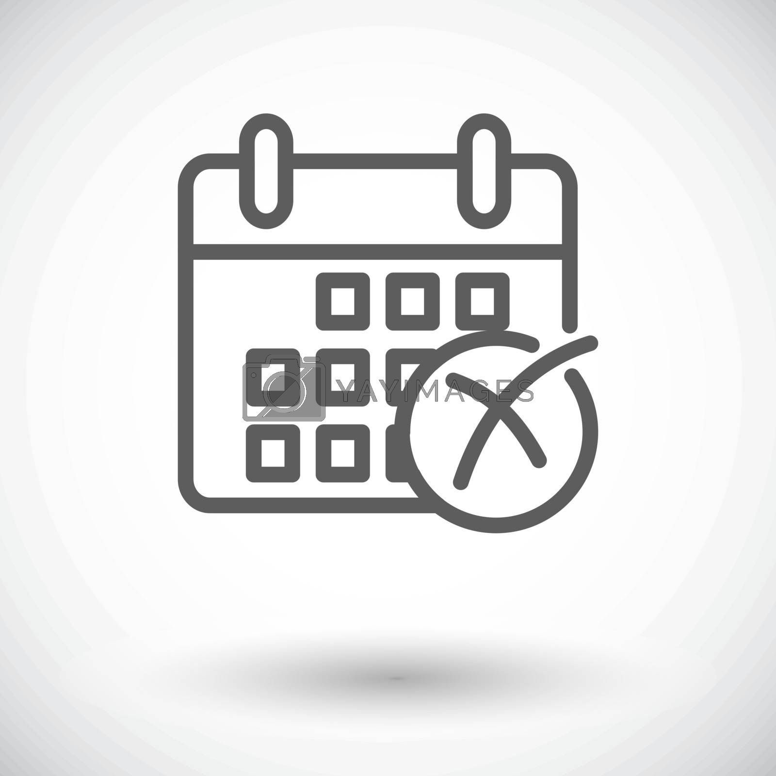 Calendar with cross. Single flat icon on white background. Vector illustration.