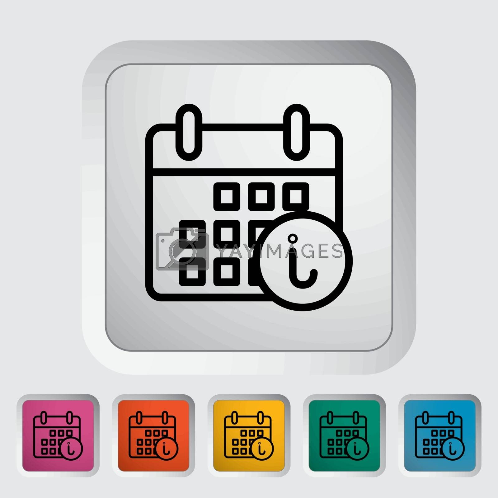 Calendar with info. Single flat icon on the button. Vector illustration.