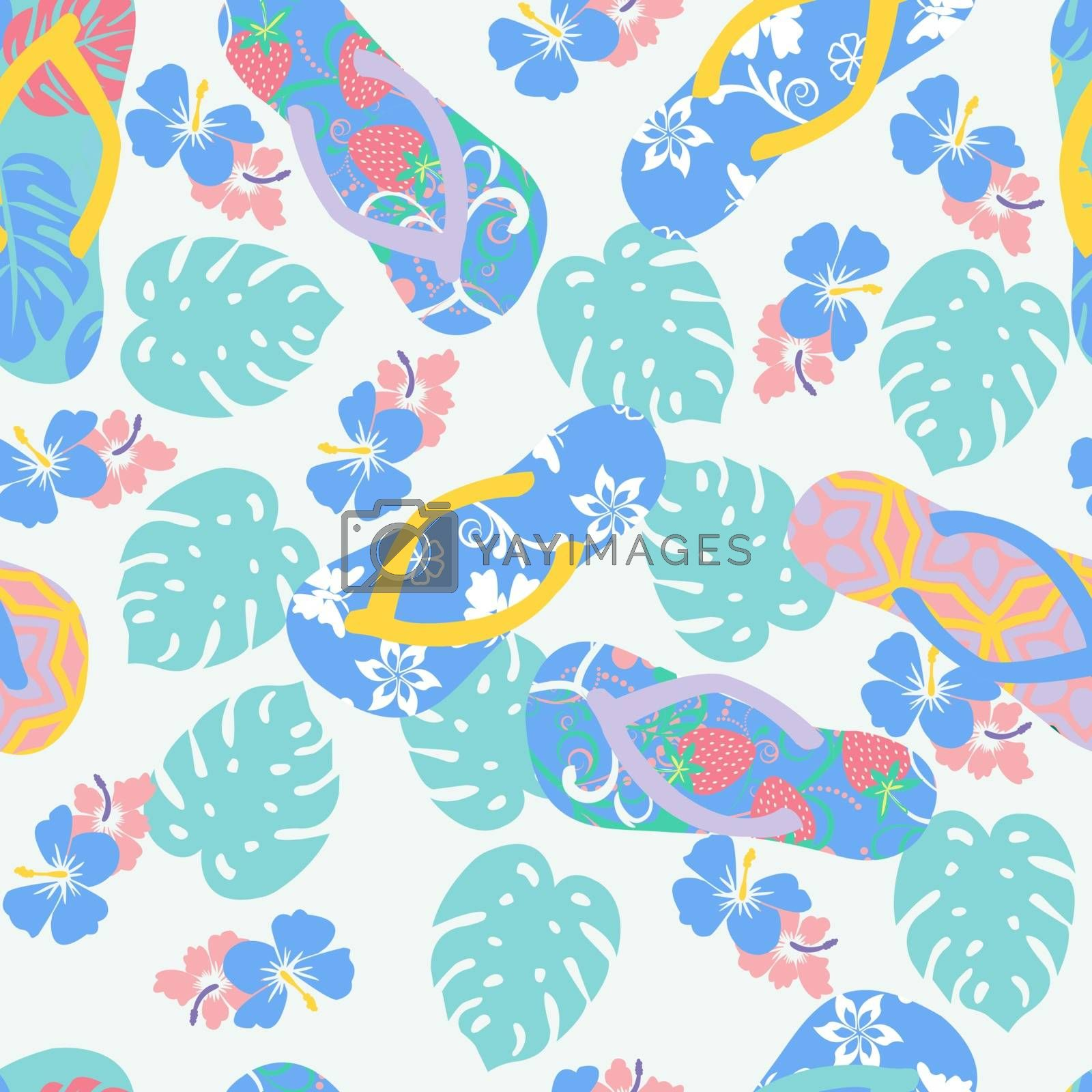Vector summer background with flower hibiscus and flip flops. Seamless tropical floral wallpaper in pastel colors.
