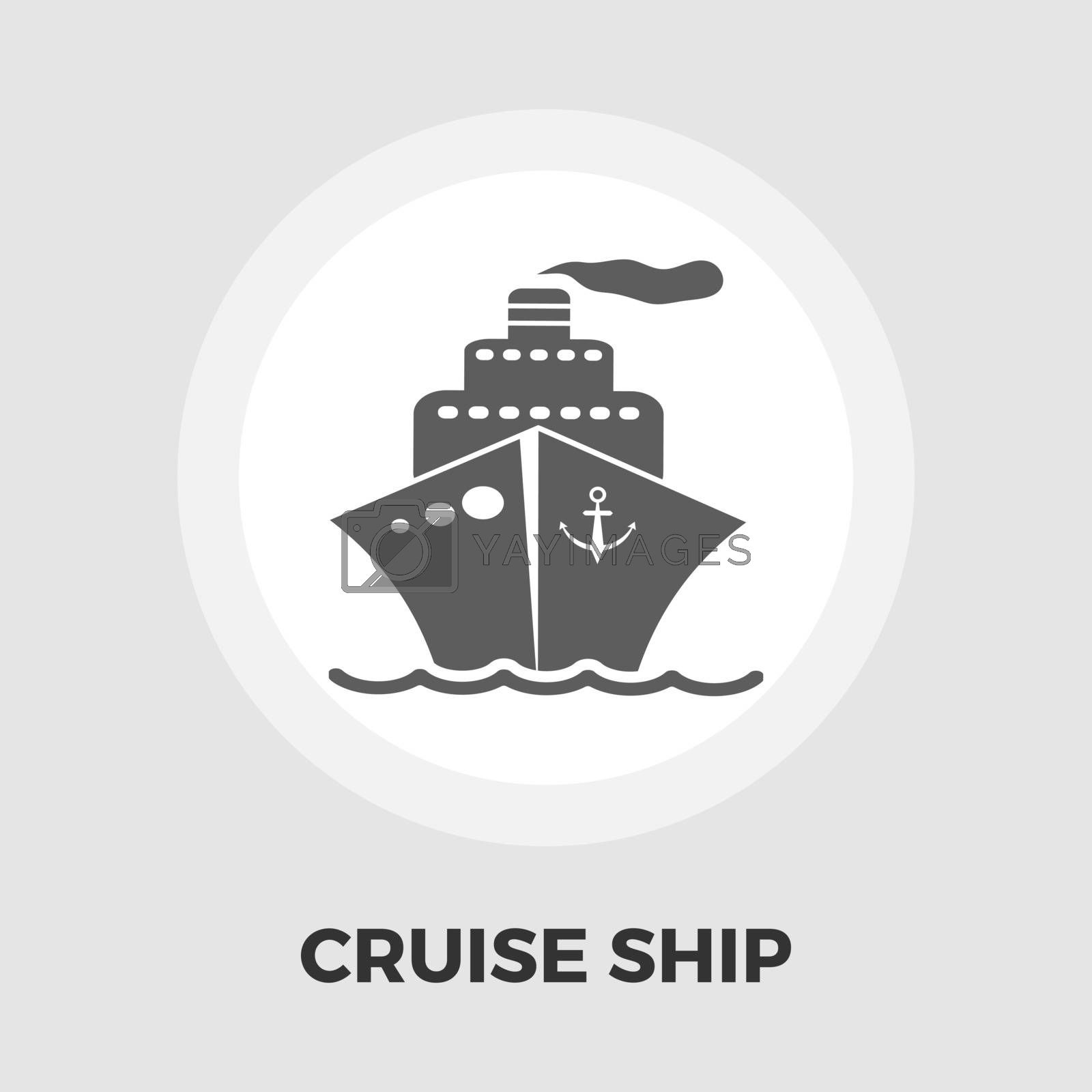 Cruise Ship Icon Vector. Flat icon isolated on the white background. Editable EPS file. Vector illustration.