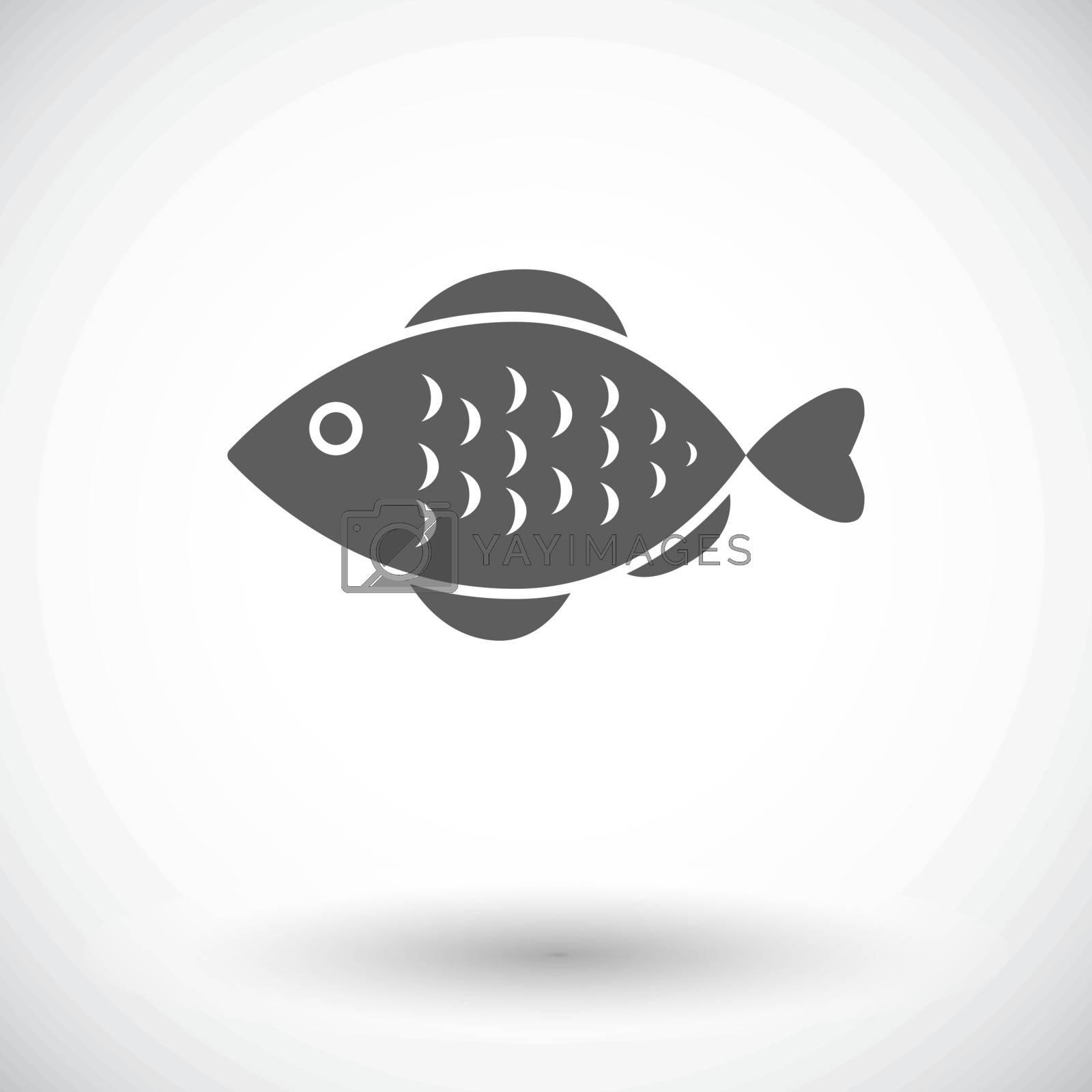 Fish. Single flat icon on white background. Vector illustration.