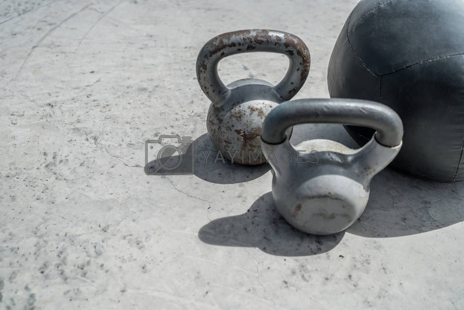 Gym kettlebell weights and medicine ball by Maridav