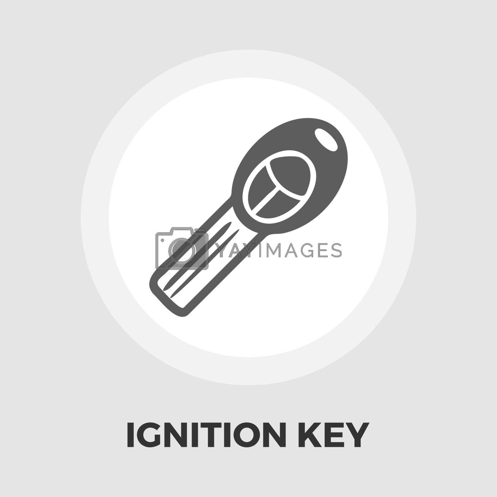 Ignition key icon vector. Flat icon isolated on the white background. Editable EPS file. Vector illustration.