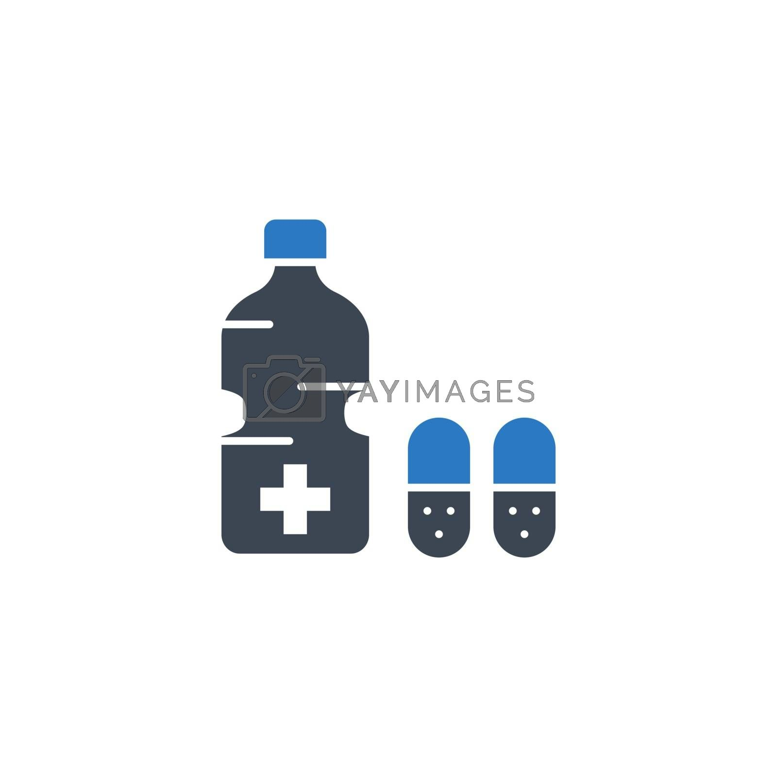 Medical Bottle related vector glyph icon. by smoki