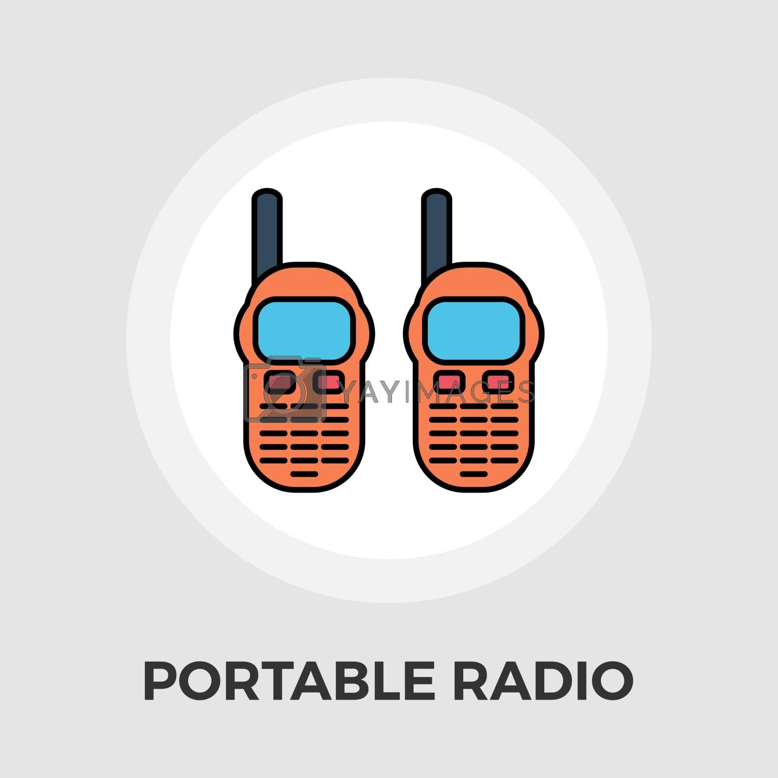 Portable radio icon vector. Flat icon isolated on the white background. Editable EPS file. Vector illustration.