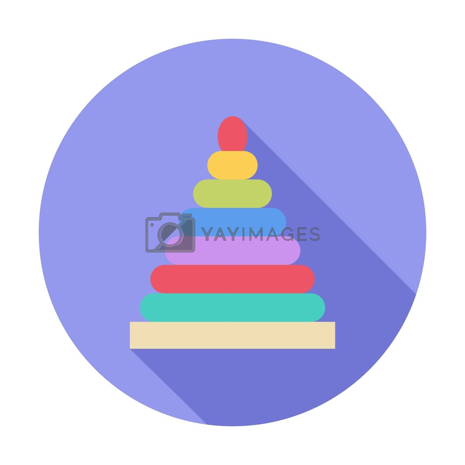 Pyramid toy icon. Flat vector related icon with long shadow for web and mobile applications. It can be used as - logo, pictogram, icon, infographic element. Vector Illustration.