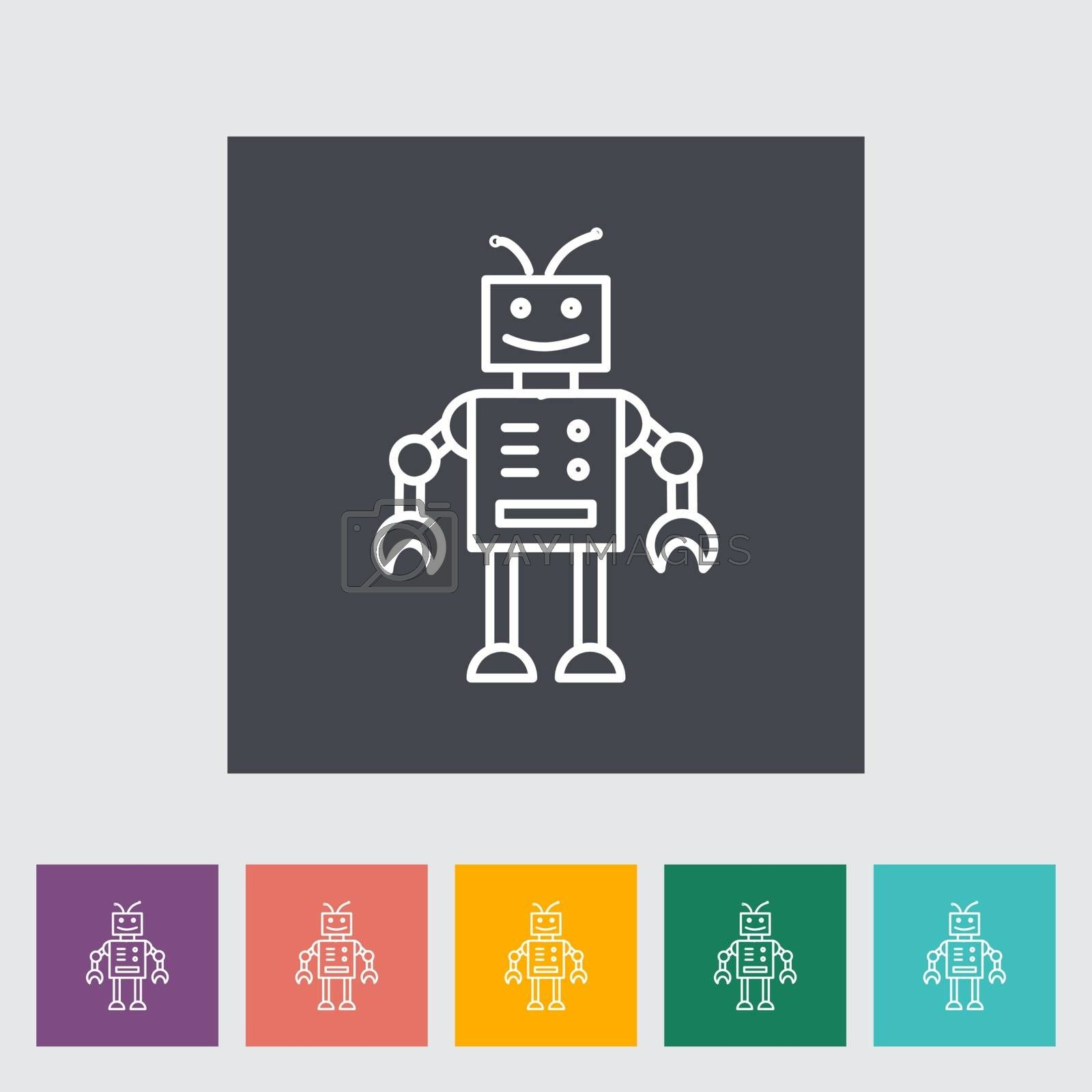 Robot toy thin line flat vector related icon set for web and mobile applications. It can be used as - pictogram, icon, infographic element. Vector Illustration.