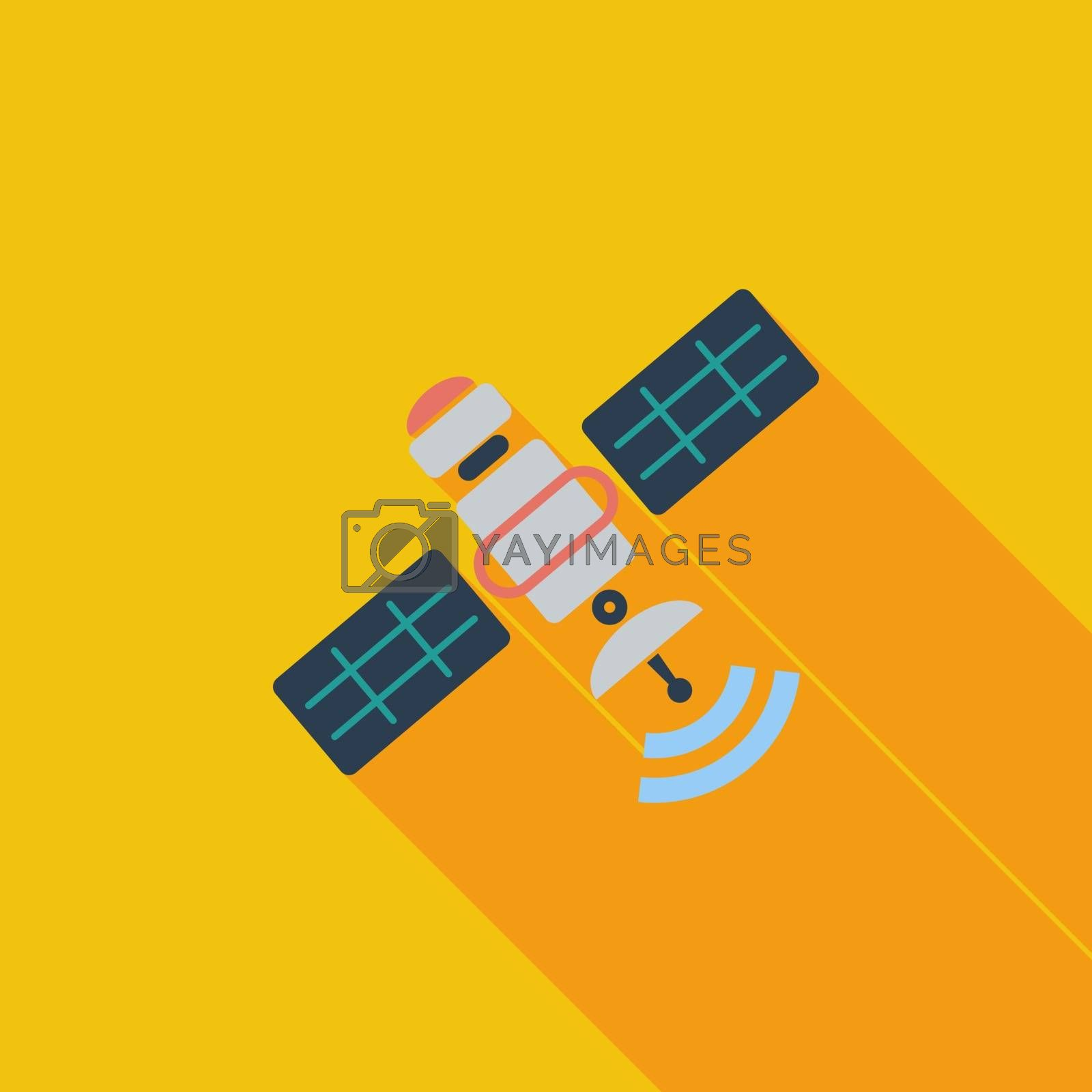 Satellite icon. Flat vector related icon with long shadow for web and mobile applications. It can be used as - logo, pictogram, icon, infographic element. Vector Illustration.
