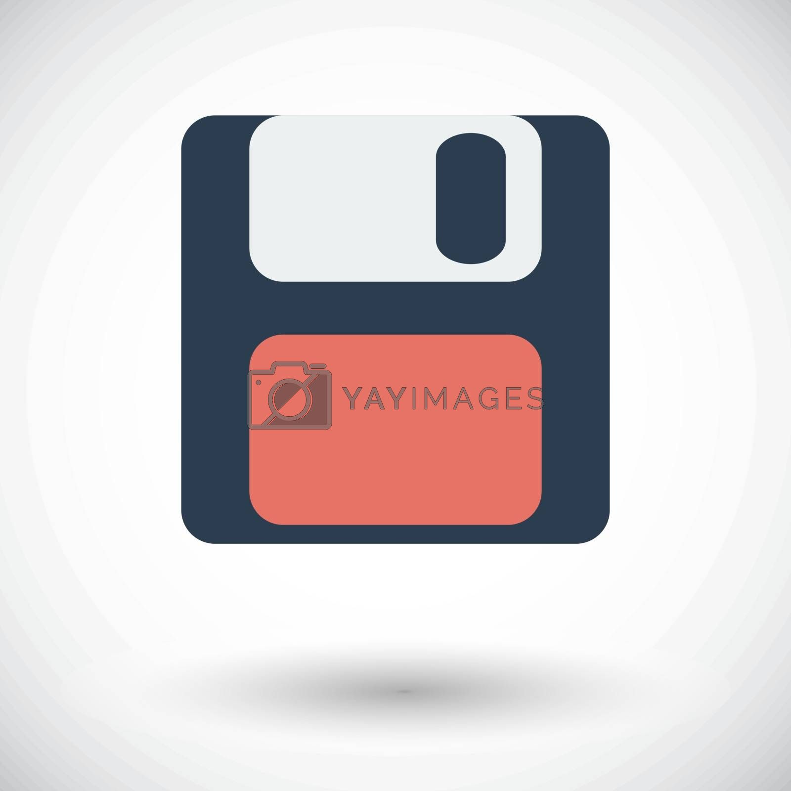 Magnetic floppy disc. Single flat icon on white background. Vector illustration.