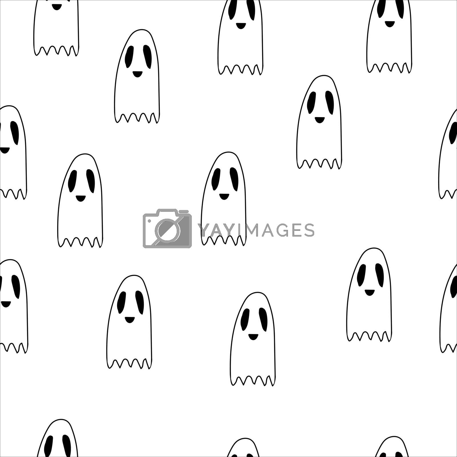Seamless pattern ghost doodle, cartoon character, vector, Halloween, isolated illustration on white background, coloring