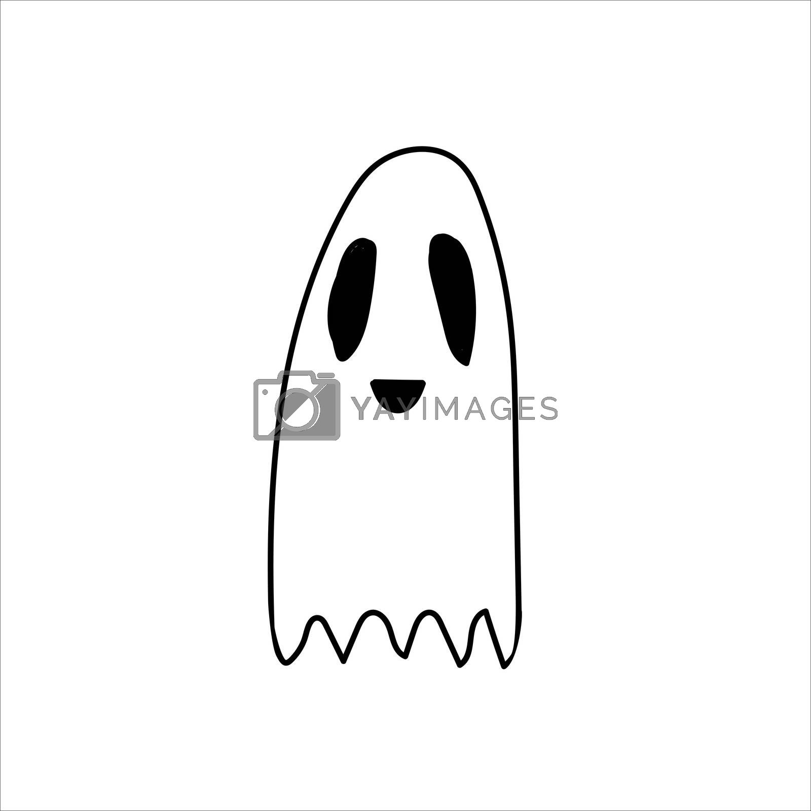 Ghost doodle, cartoon character, , Halloween, isolated illustration on white background coloring