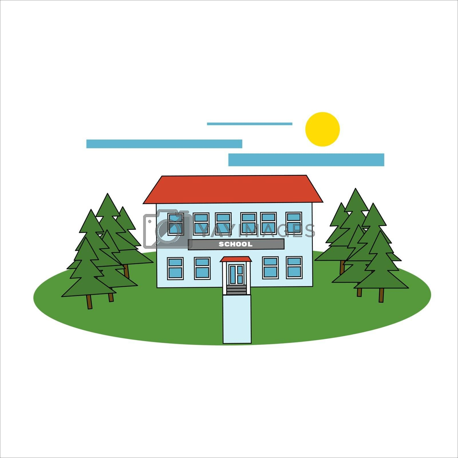 School building and bus. Vector illustration in filled outline style