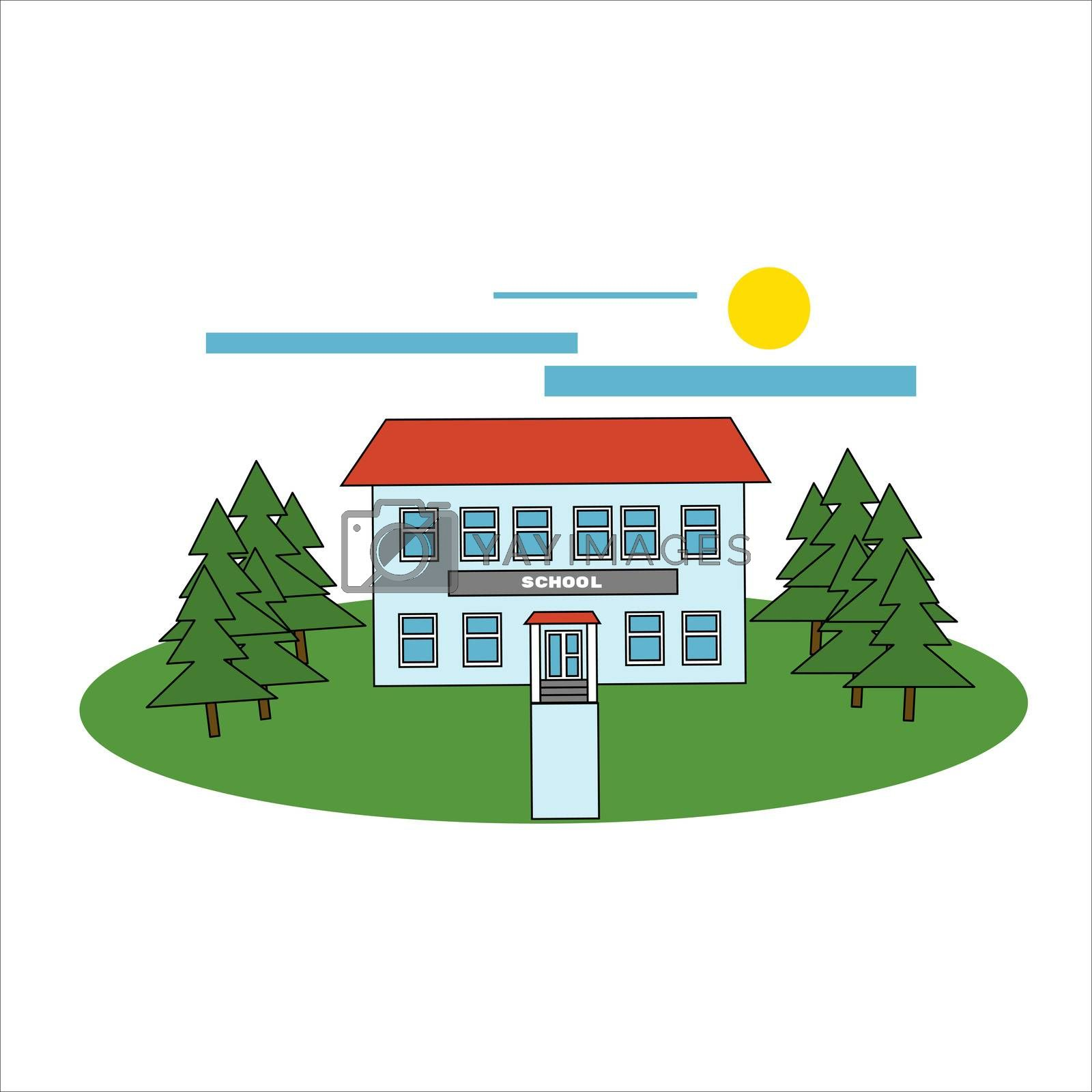 School building and bus. illustration in filled outline style