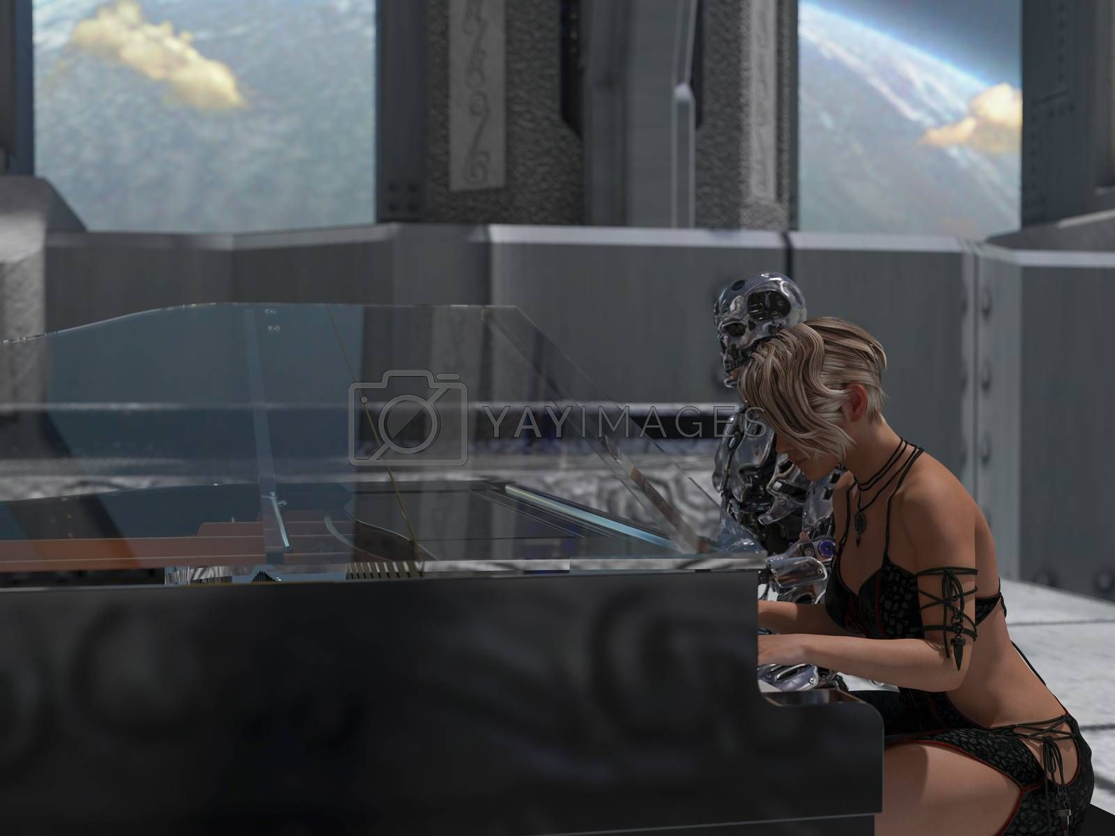 Close up of a robot and a woman playing piano with a big planet background - 3d rendering