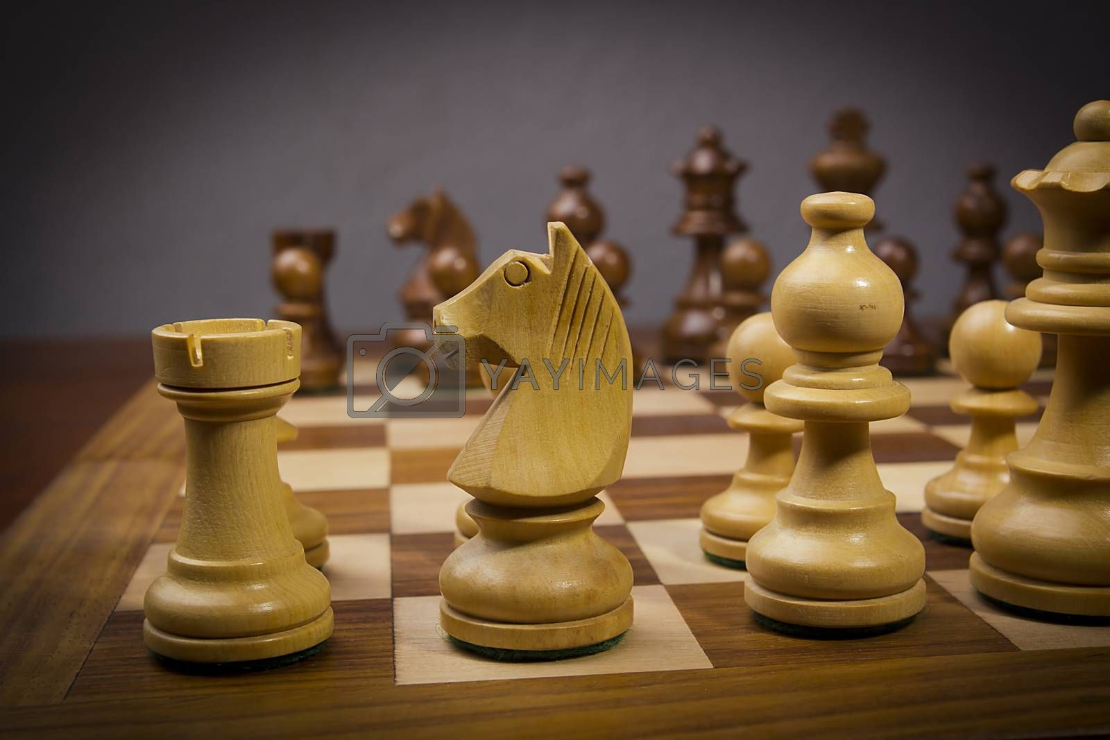 Chess board with beautiful chess wooden pieces