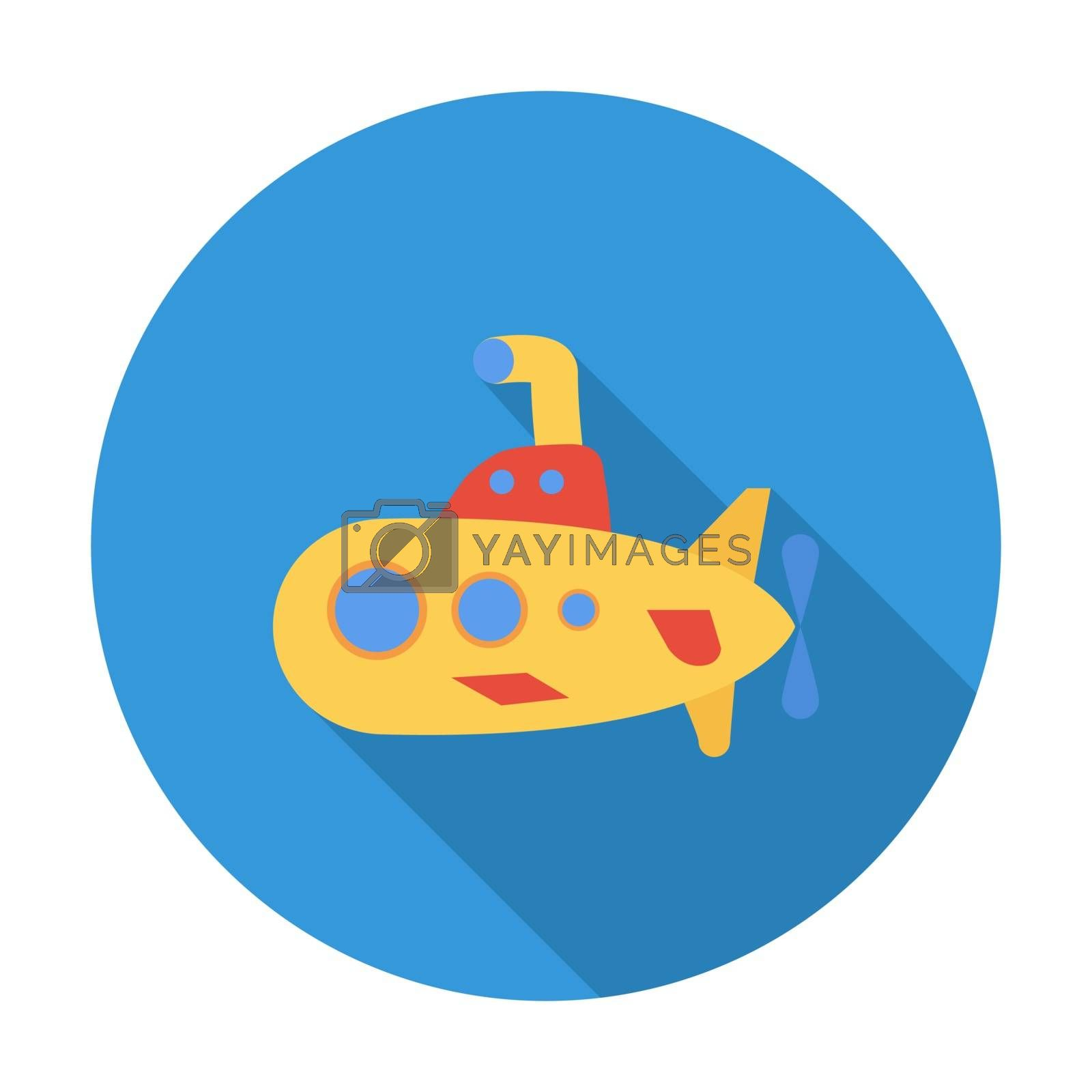 Submarine icon. Flat vector related icon with long shadow for web and mobile applications. It can be used as - logo, pictogram, icon, infographic element. Vector Illustration.