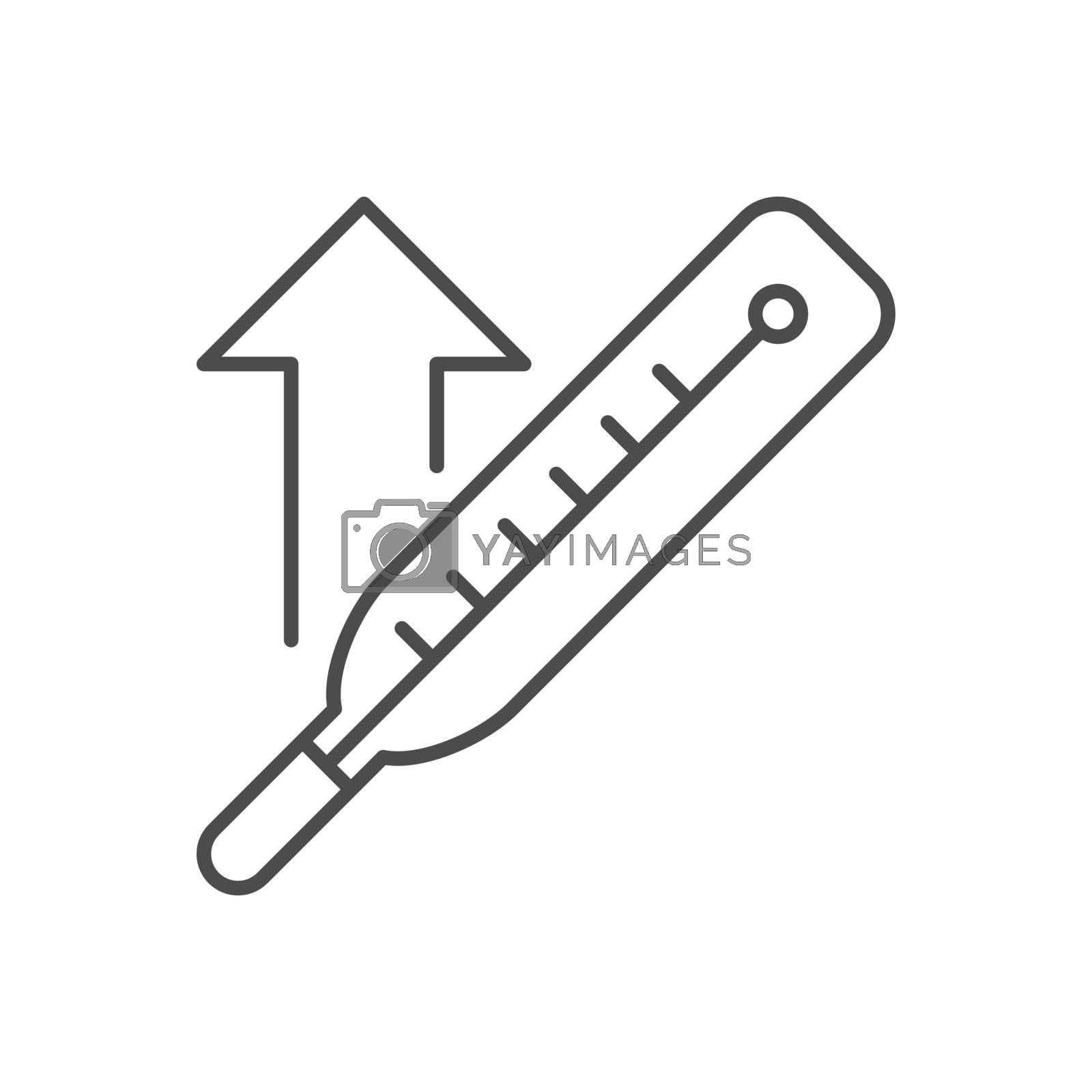 Thermometer with a high temperature related vector thin line icon by smoki