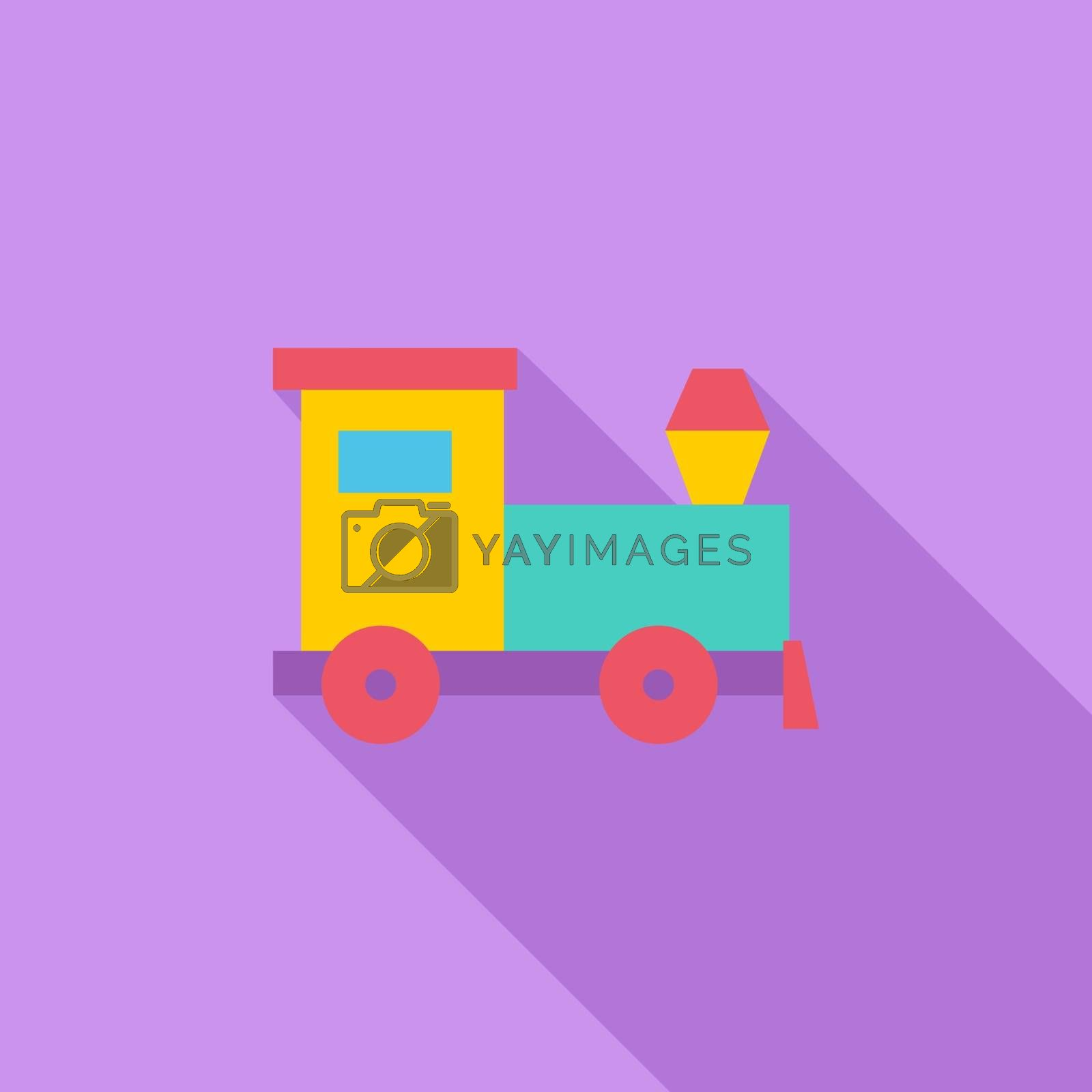 Train toy icon. Flat vector related icon with long shadow for web and mobile applications. It can be used as - logo, pictogram, icon, infographic element. Vector Illustration.