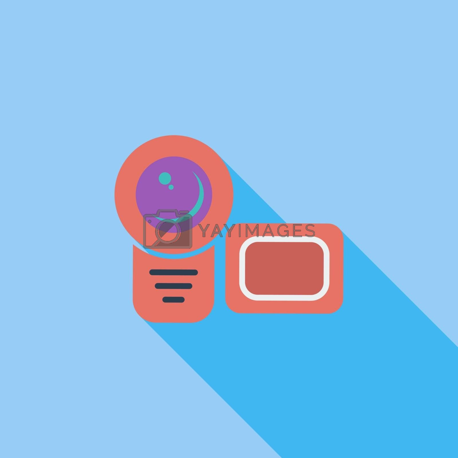 Video camera icon. Flat vector related icon with long shadow for web and mobile applications. It can be used as - logo, pictogram, icon, infographic element. Vector Illustration.