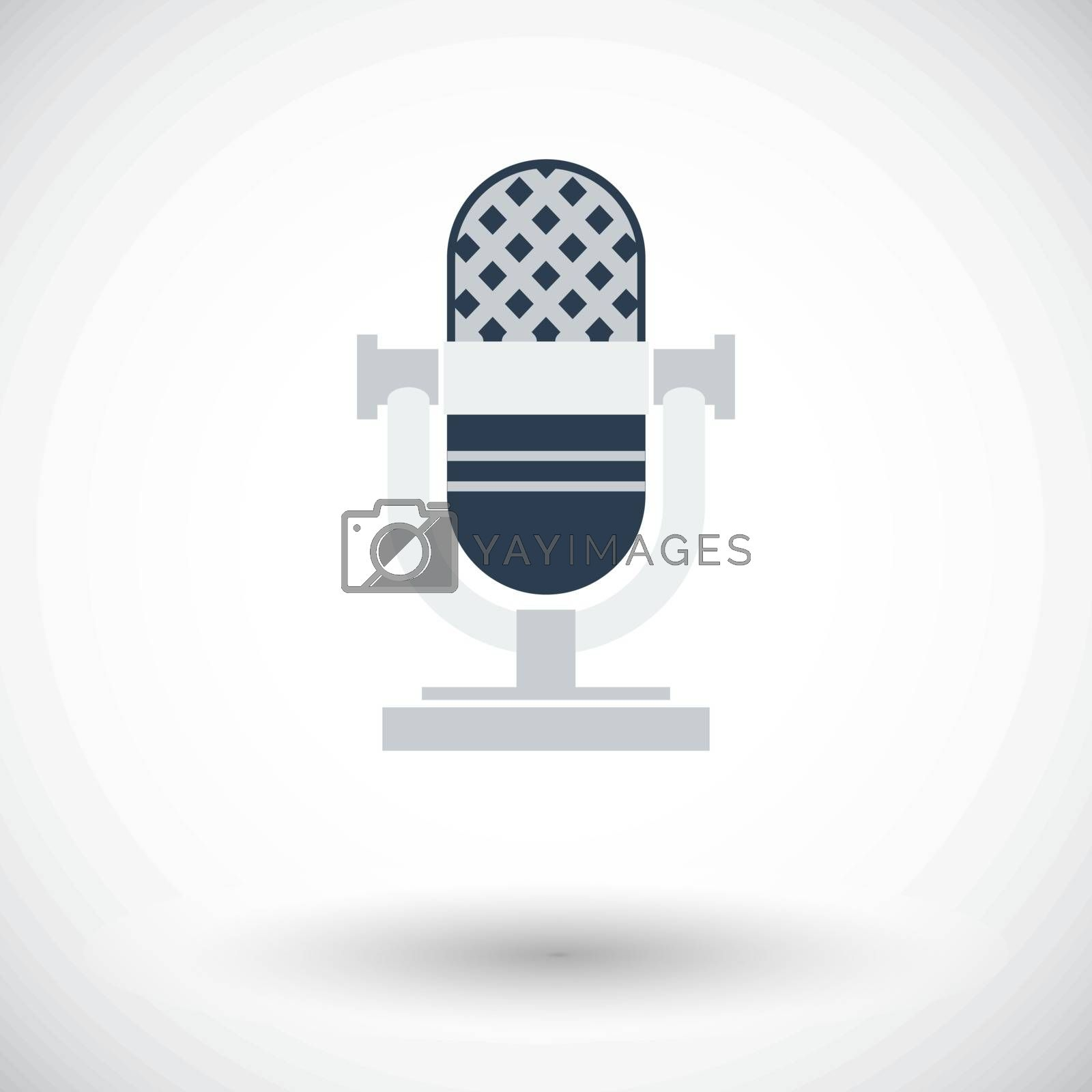 Vintage microphone. Single flat icon on white background. Vector illustration.