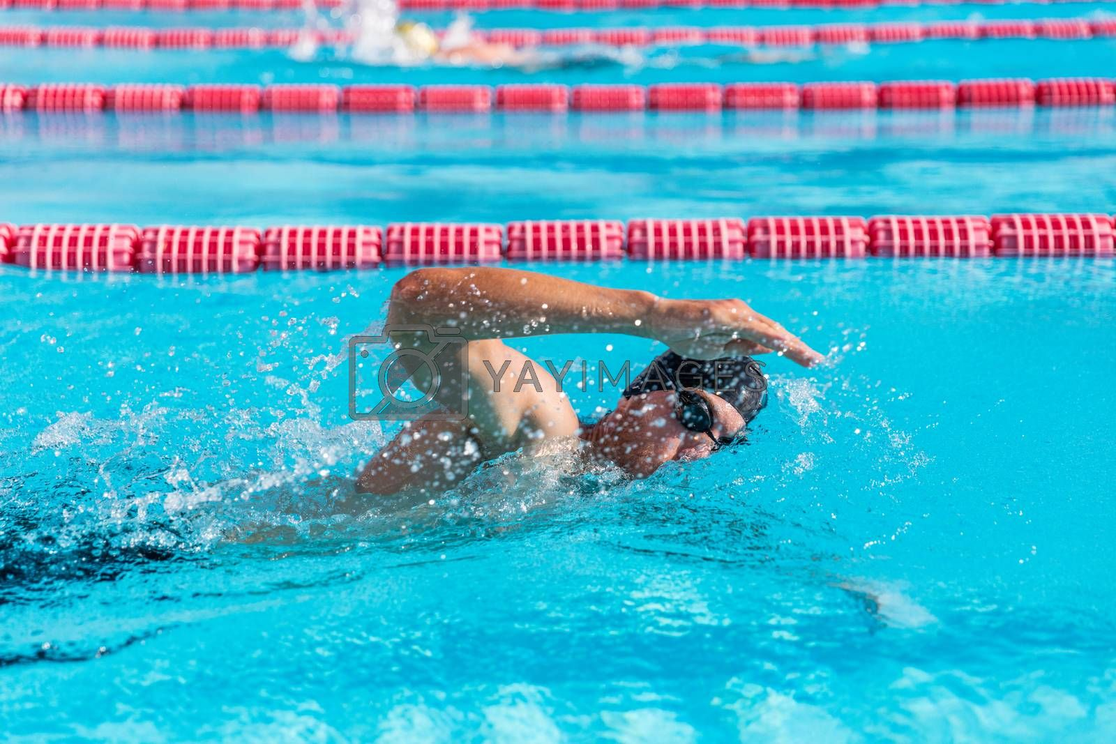Swimmer man fitness training at swimming pool. Professional male athlete doing crawl freestyle stroke technique by Maridav