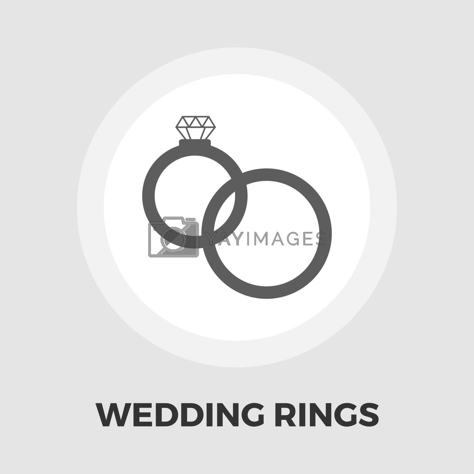 Wedding rings icon vector. Flat icon isolated on the white background. Editable EPS file. Vector illustration.