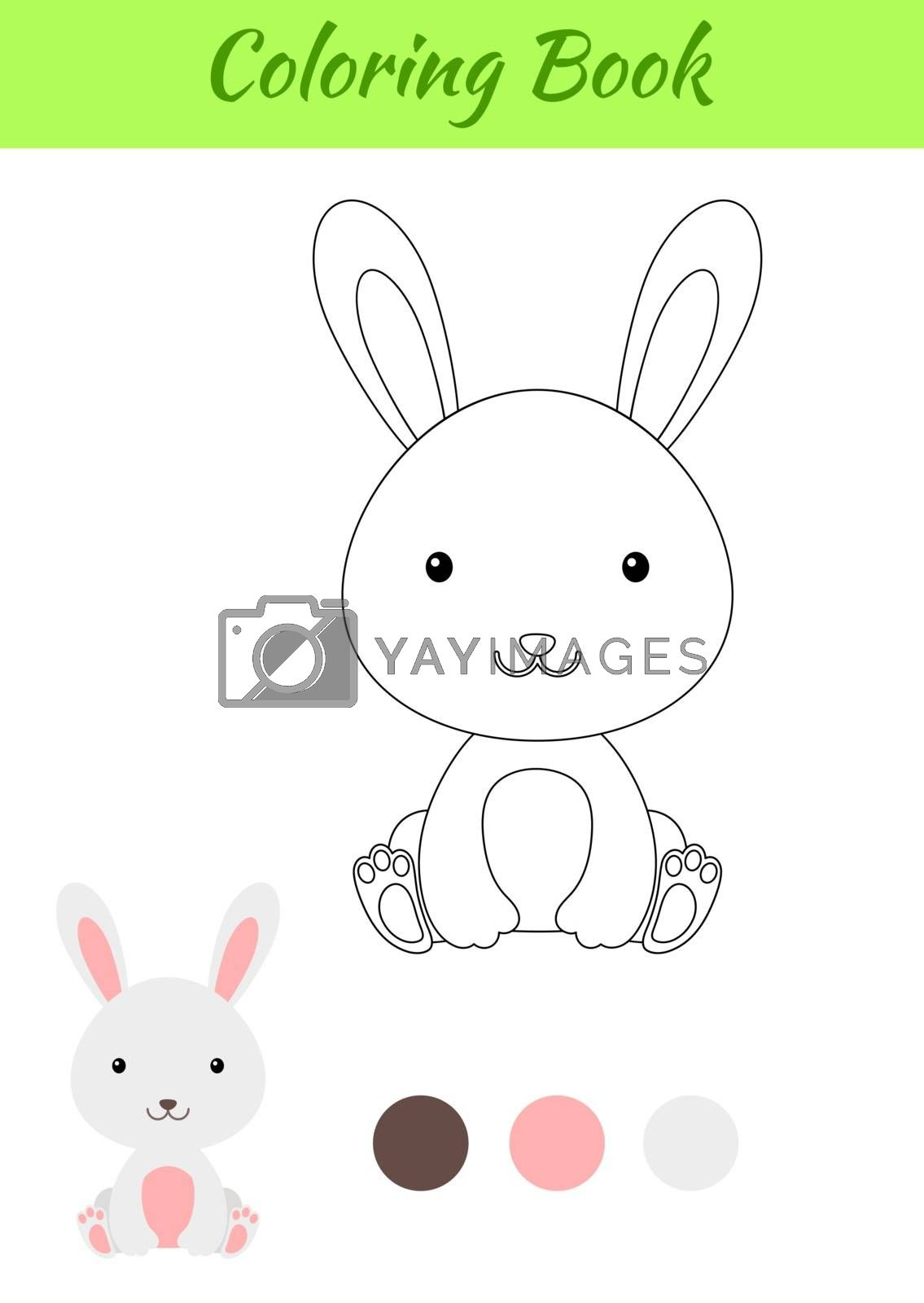 Coloring page little sitting baby rabbit. Coloring book for kids by Melnyk