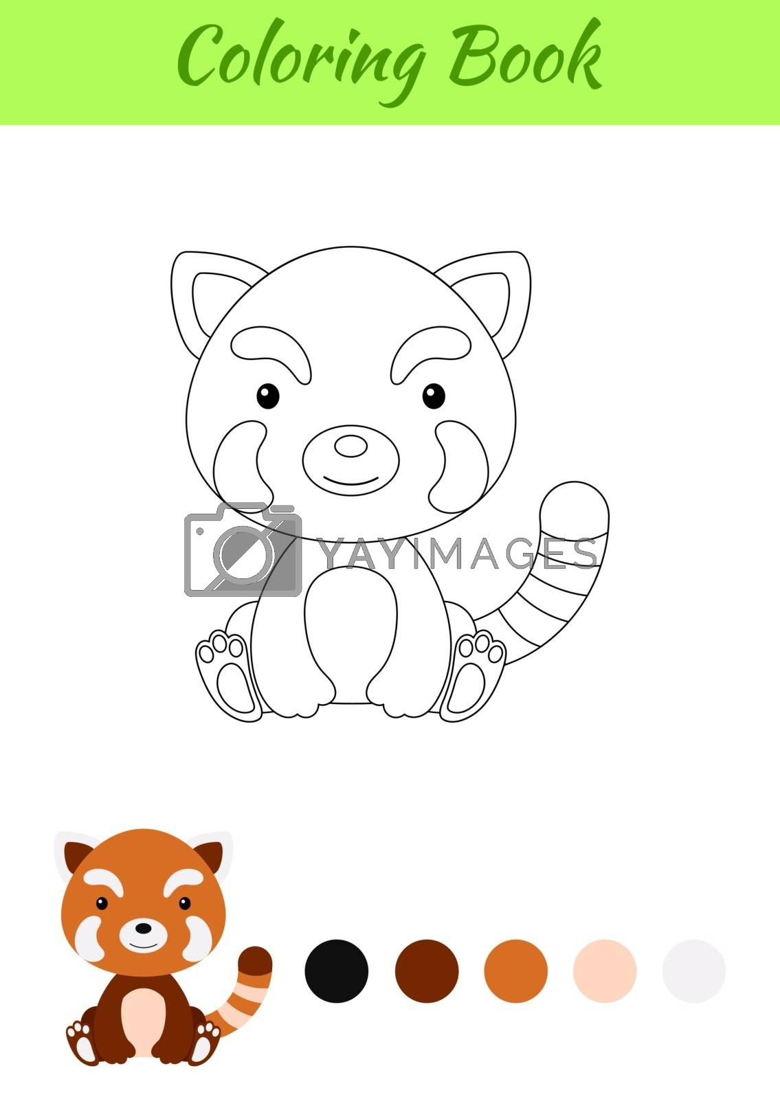 Coloring page little sitting baby red panda. Coloring book for k by Melnyk