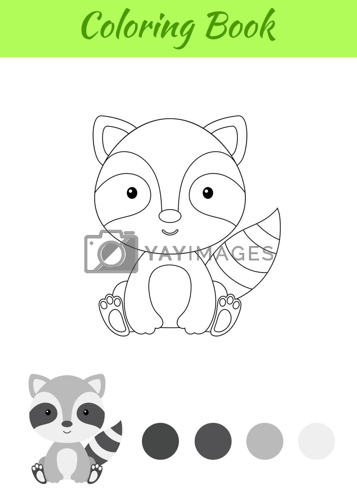 Coloring page little sitting baby raccoon. Coloring book for kid by Melnyk