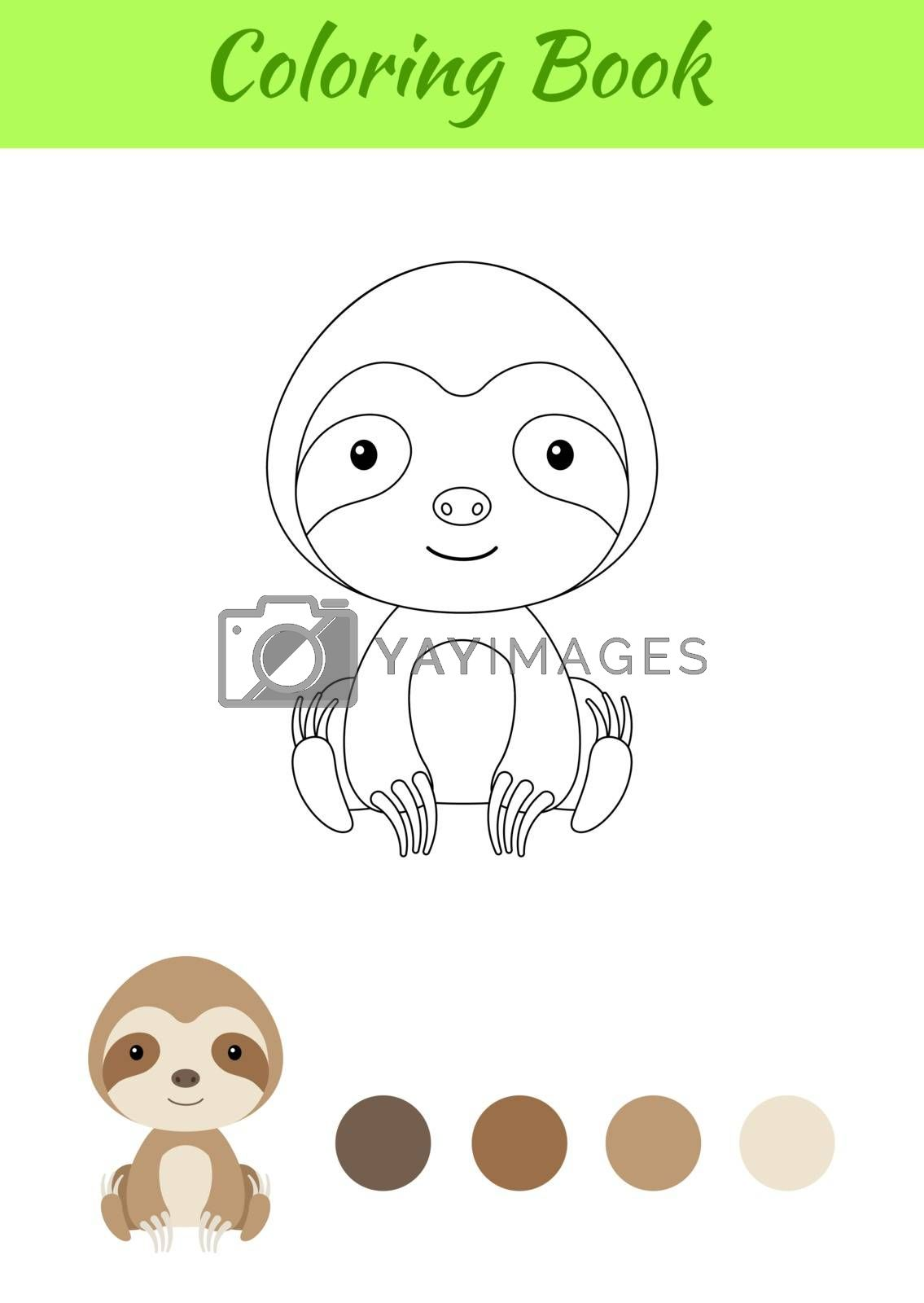 Coloring page little sitting baby sloth. Coloring book for kids. Educational activity for preschool years kids and toddlers with cute animal. Flat cartoon colorful vector stock illustration.