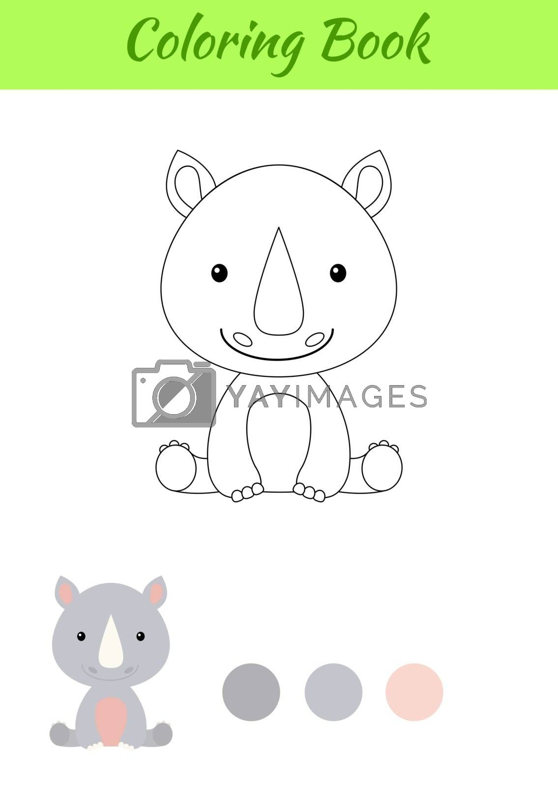 Coloring page little sitting baby rhino. Coloring book for kids. Educational activity for preschool years kids and toddlers with cute animal. Flat cartoon colorful vector stock illustration.