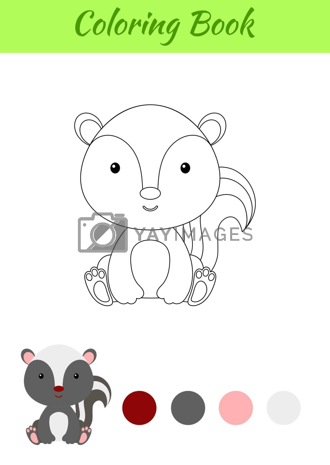 Coloring page little sitting baby skunk. Coloring book for kids. by Melnyk