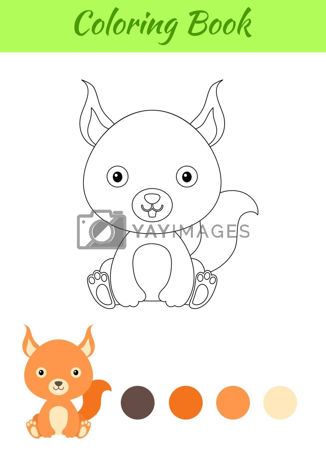 Coloring page little sitting baby squirrel. Coloring book for ki by Melnyk