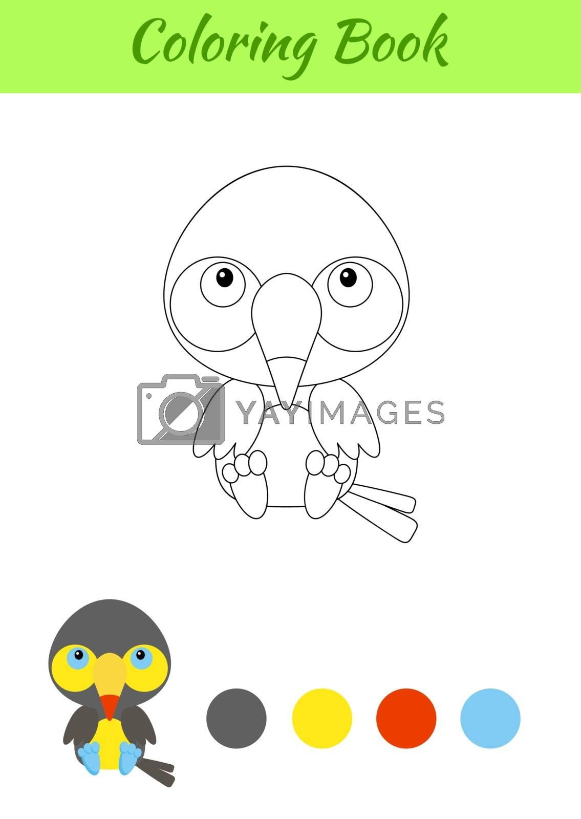 Coloring page little sitting baby toucan. Coloring book for kids by Melnyk
