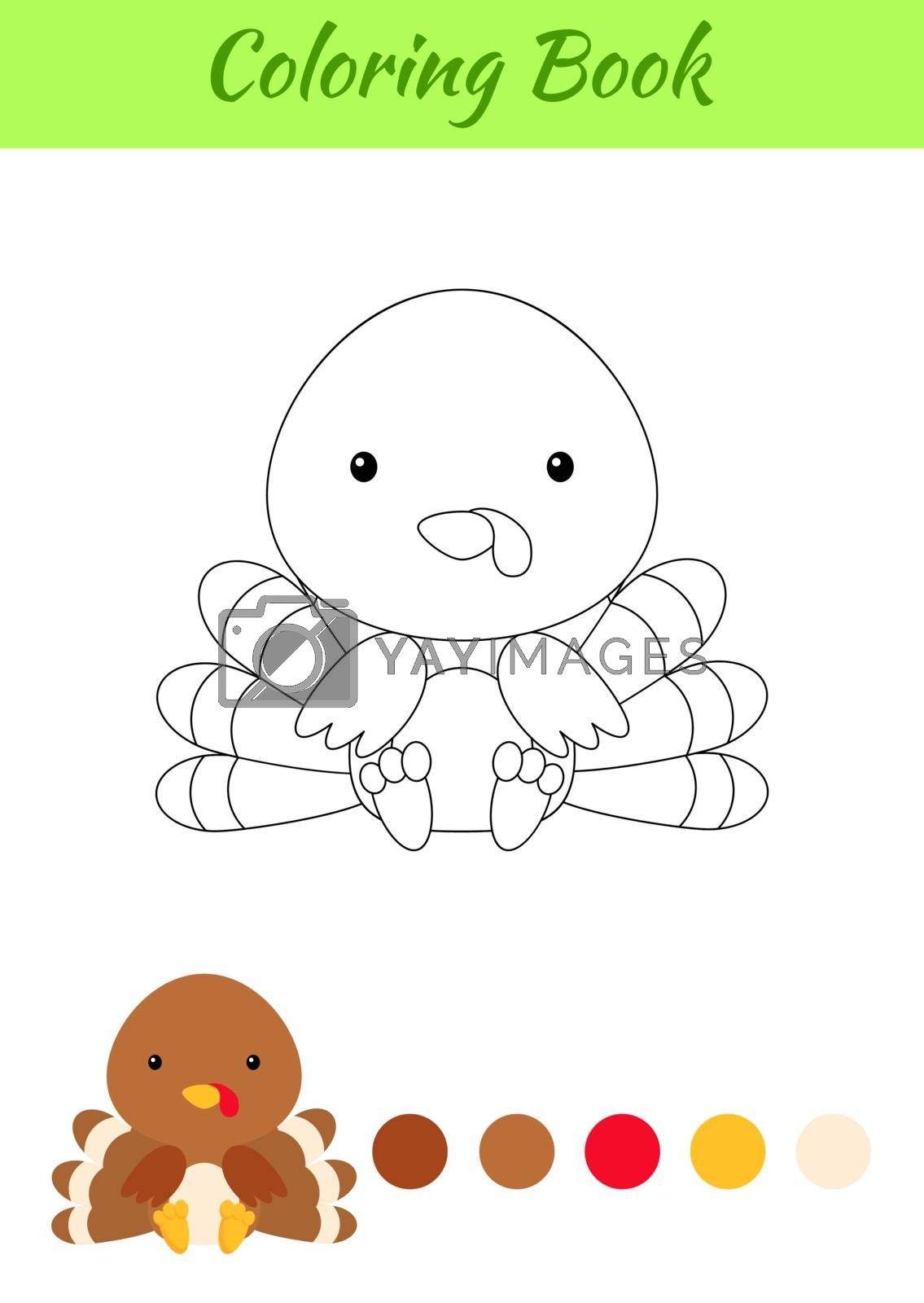 Coloring page little sitting baby turkey. Coloring book for kids by Melnyk