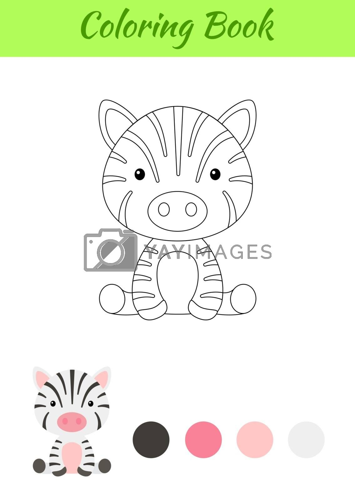 Coloring page little sitting baby zebra. Coloring book for kids. Educational activity for preschool years kids and toddlers with cute animal. Flat cartoon colorful vector stock illustration.